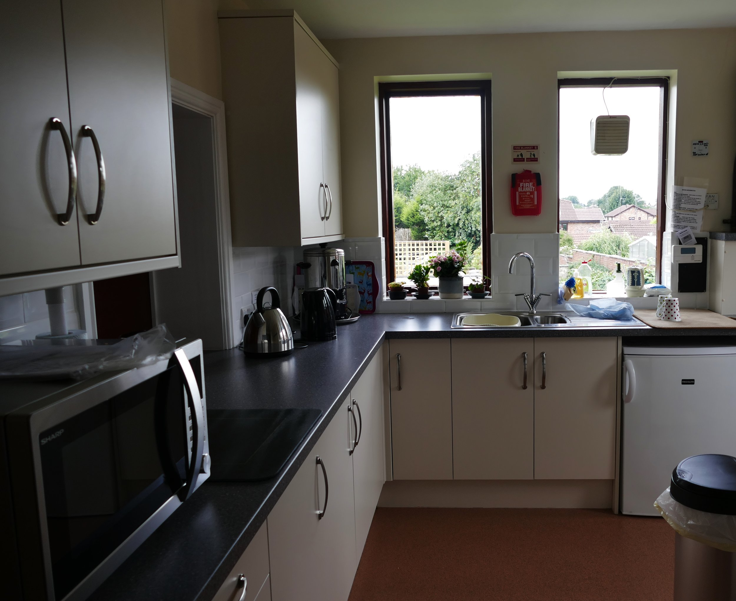 Here is the newly fitted out Church Kitchen. We serve tea coffee cake and biscuits after service and there is a full size hatch to facilitate this