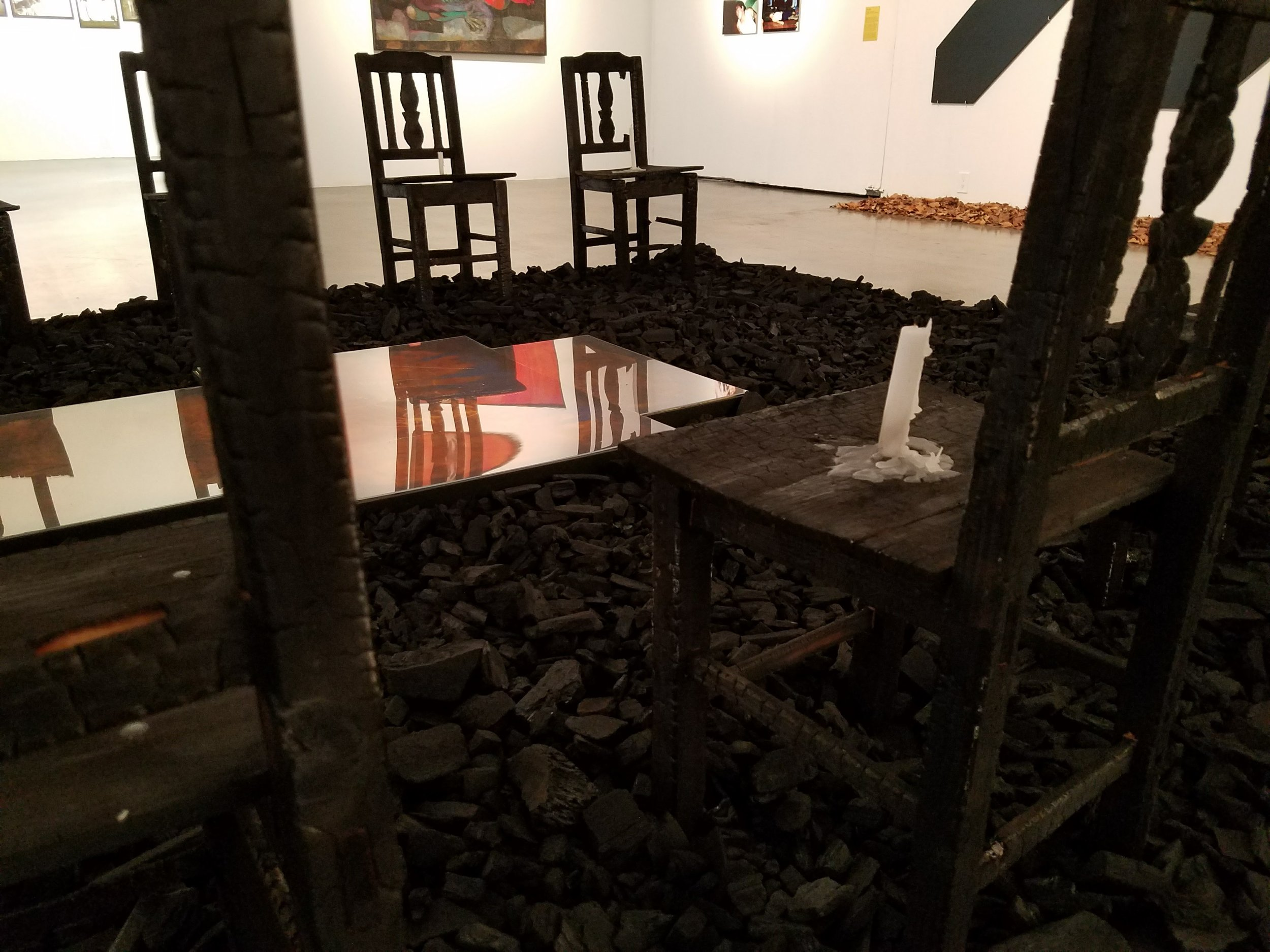 Detail from  Besieged History  (1991), on view at the Museum of Contemporary Art, Santa Barbara in  Guatemala from 33,000 km , curated by Miki Garcia and Emiliano Valdés.