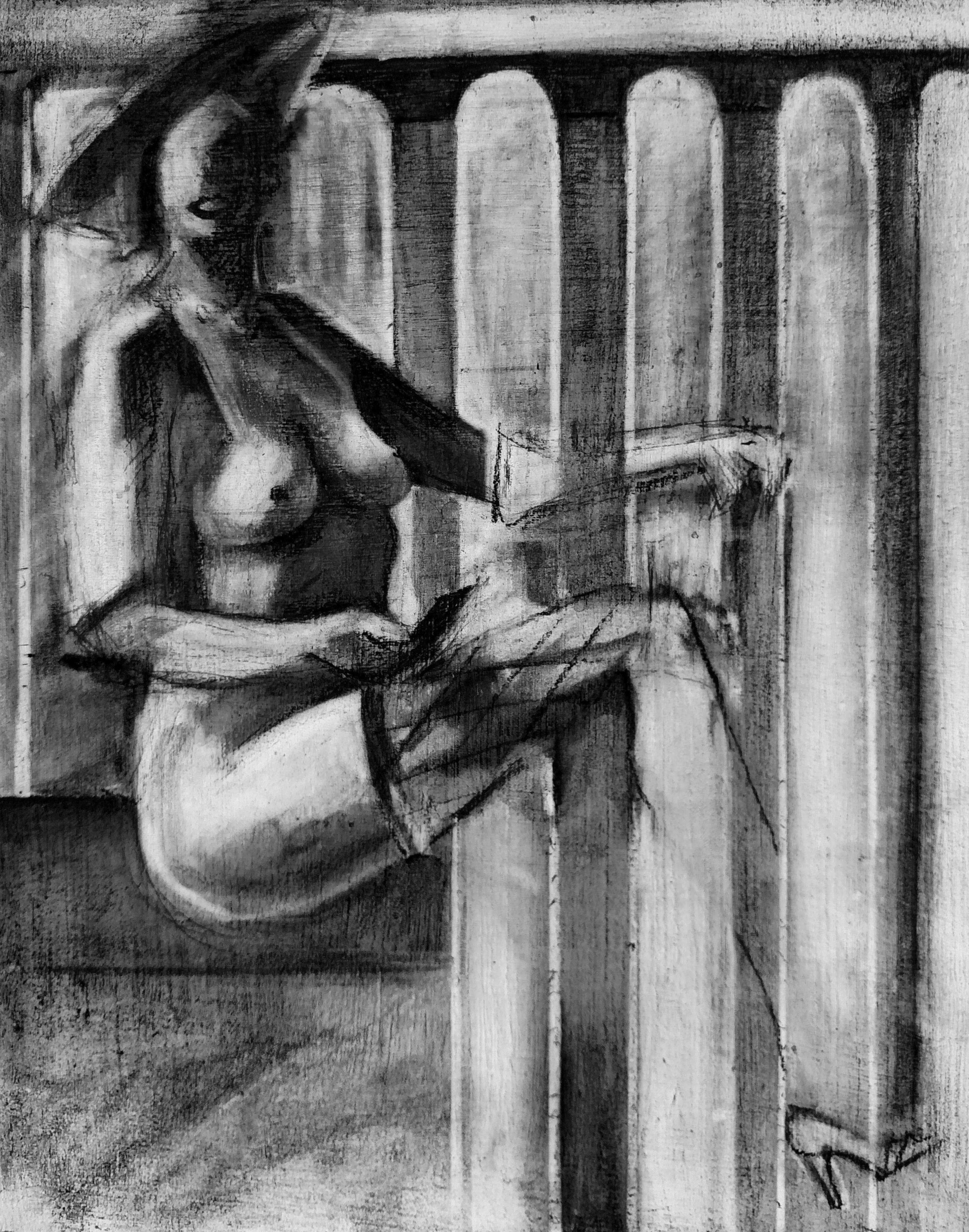 Nude Study 2     Charcoal on Gessoed Wood Panel    2016 7in x 9in