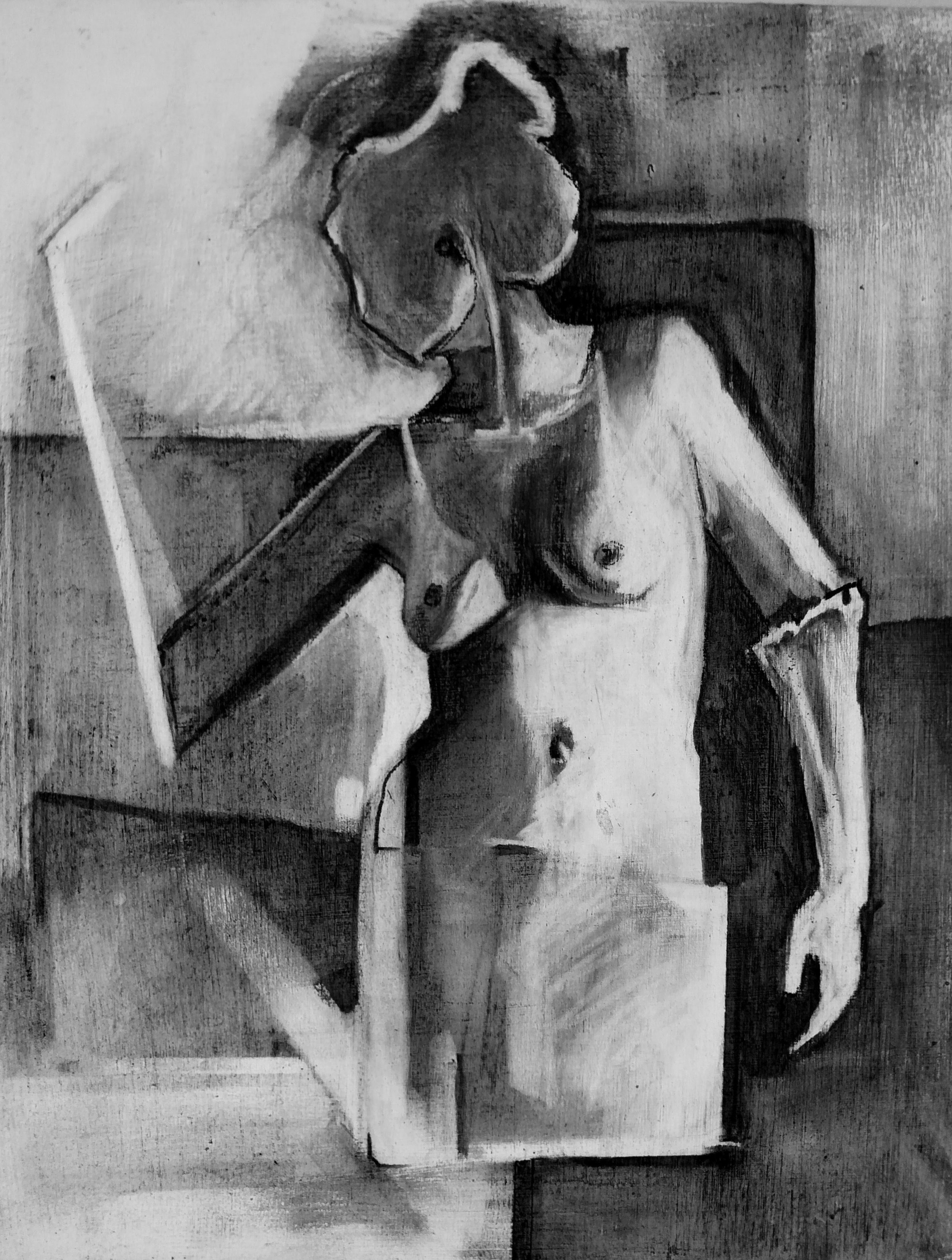 Nude Study 4    Charcoal on Gessoed Wood Panel  2016 7in x 9in
