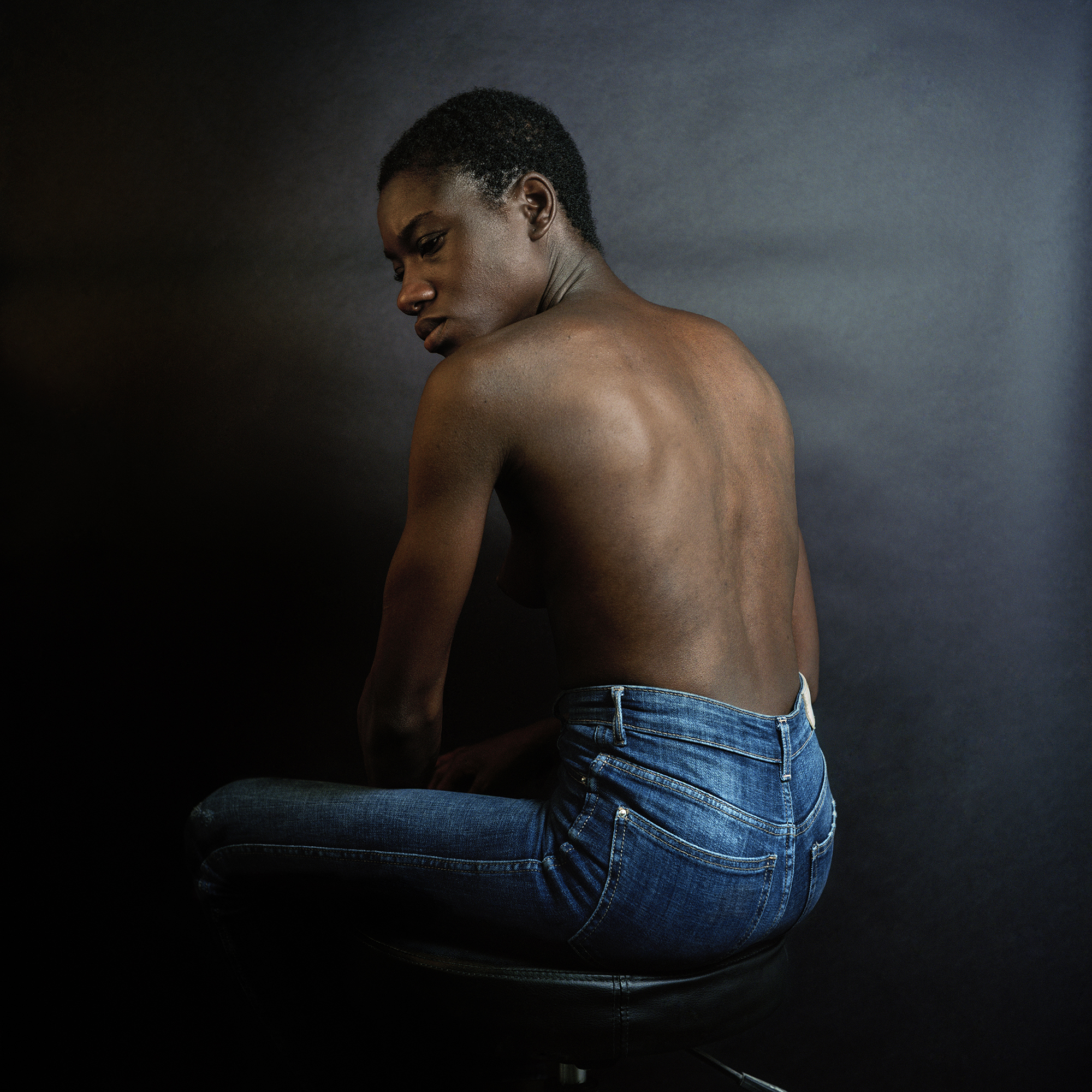 Sitting Like Gordon With Bare-Back ,  Indigo and Shutter Release in Hand, 2018