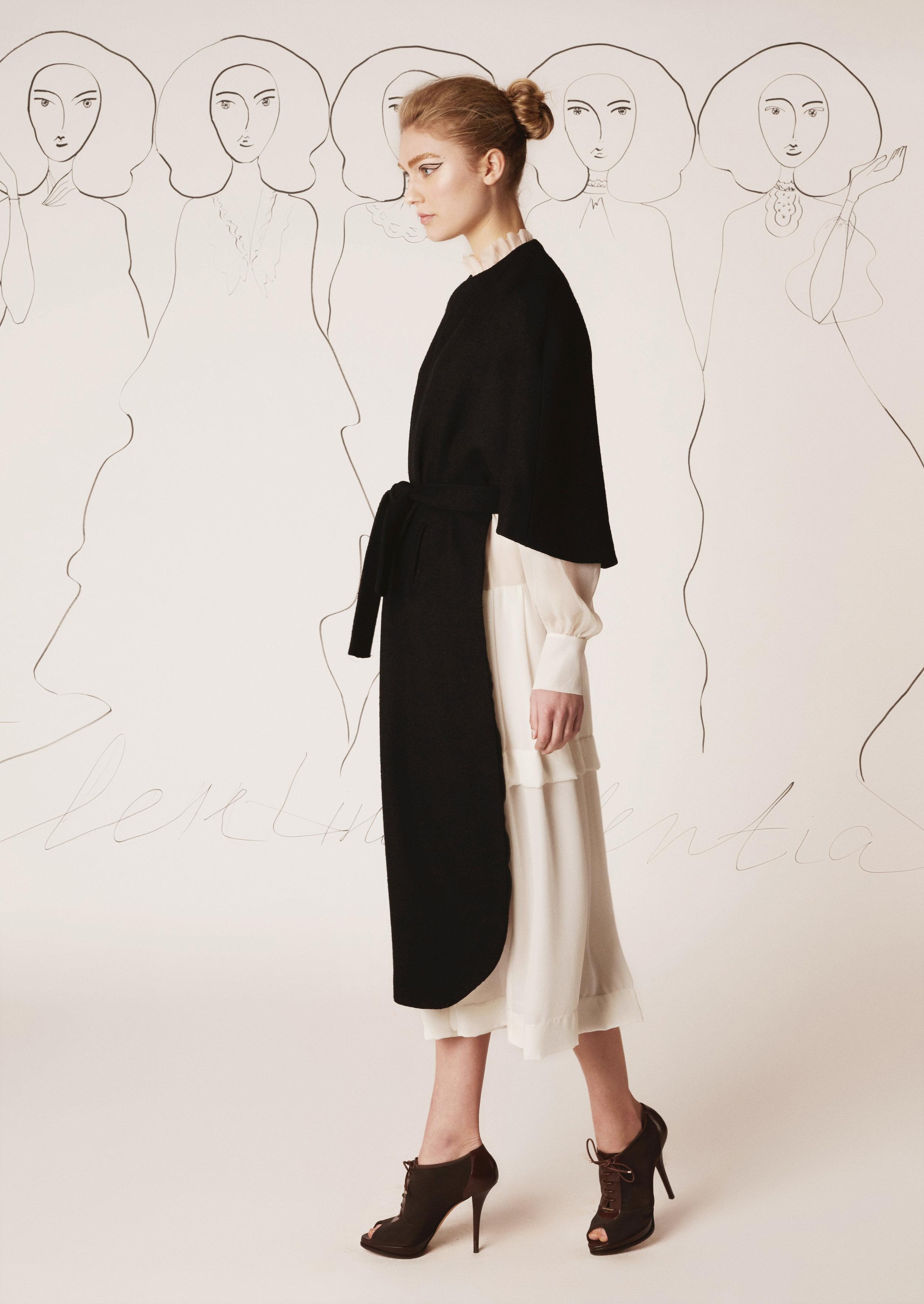 Silk chiffon dress and tweed cape