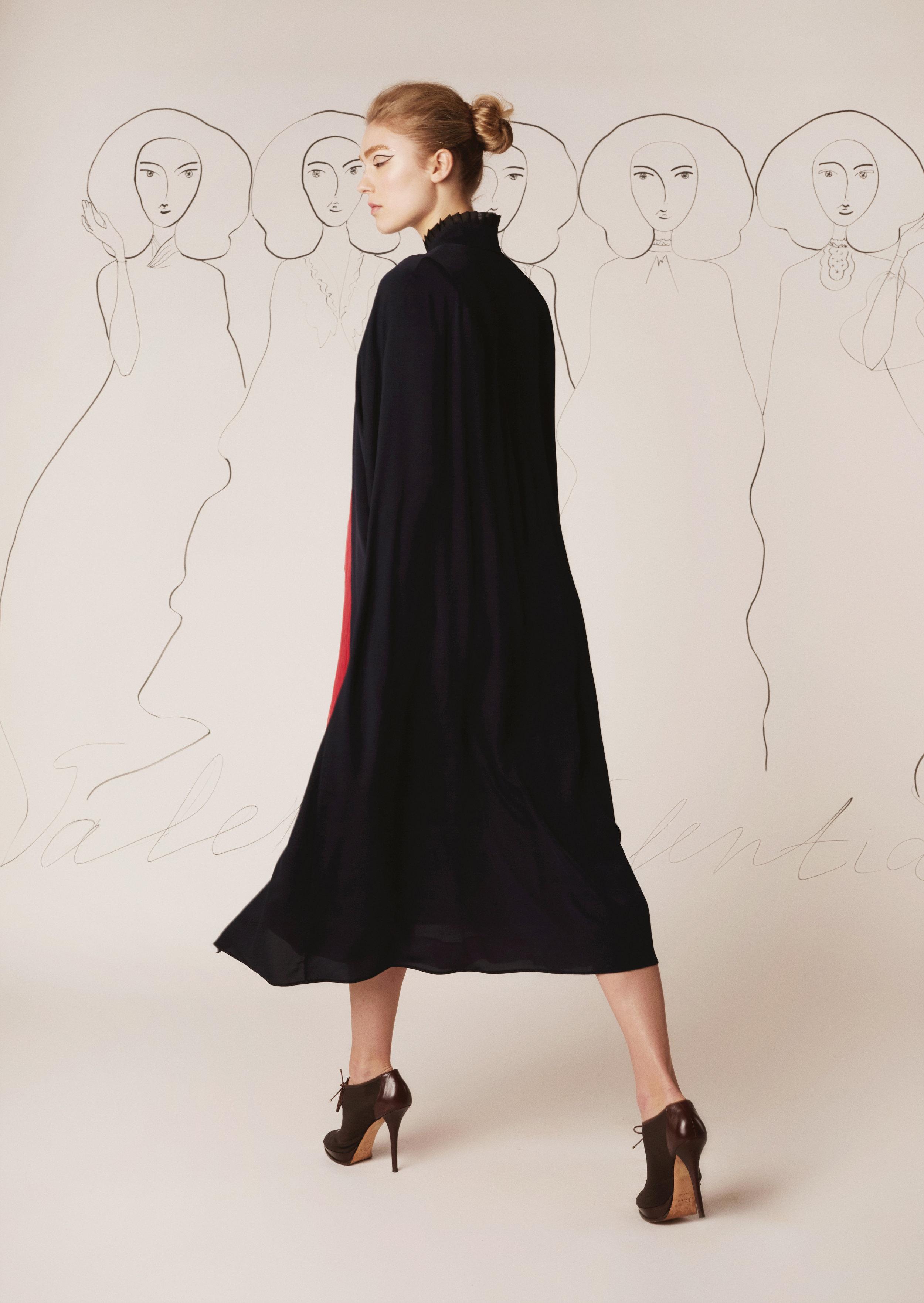 Silk chiffon cape