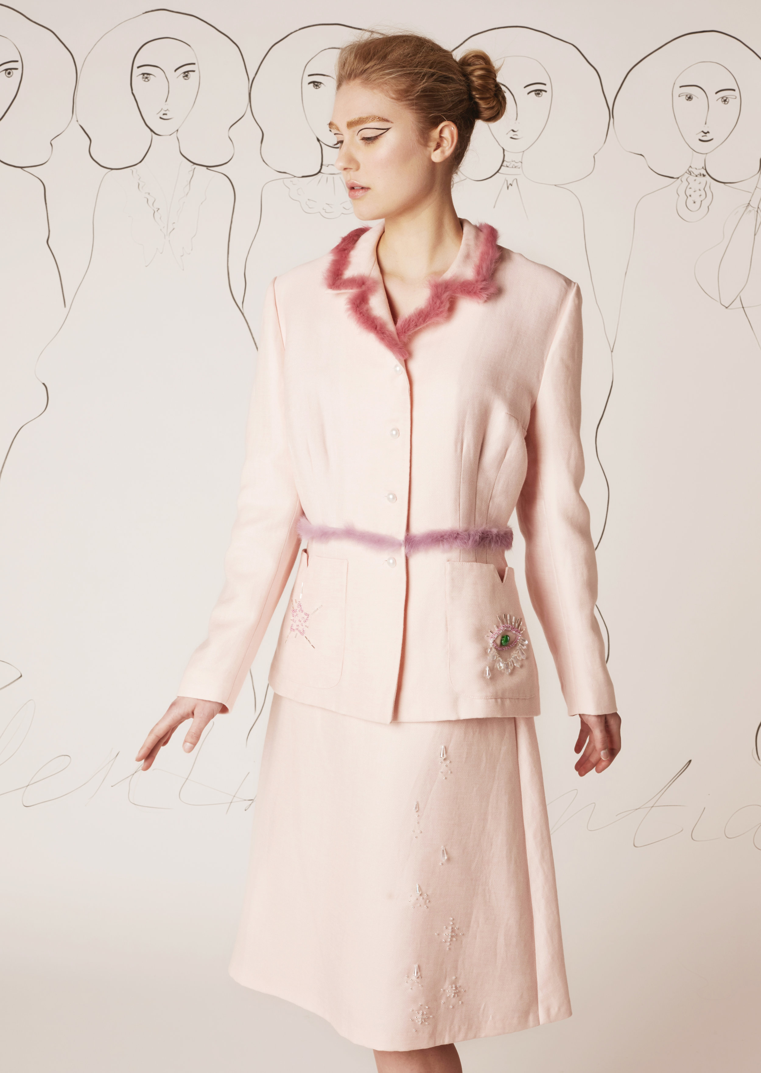 Hand-embroidered wool jacket and skirt