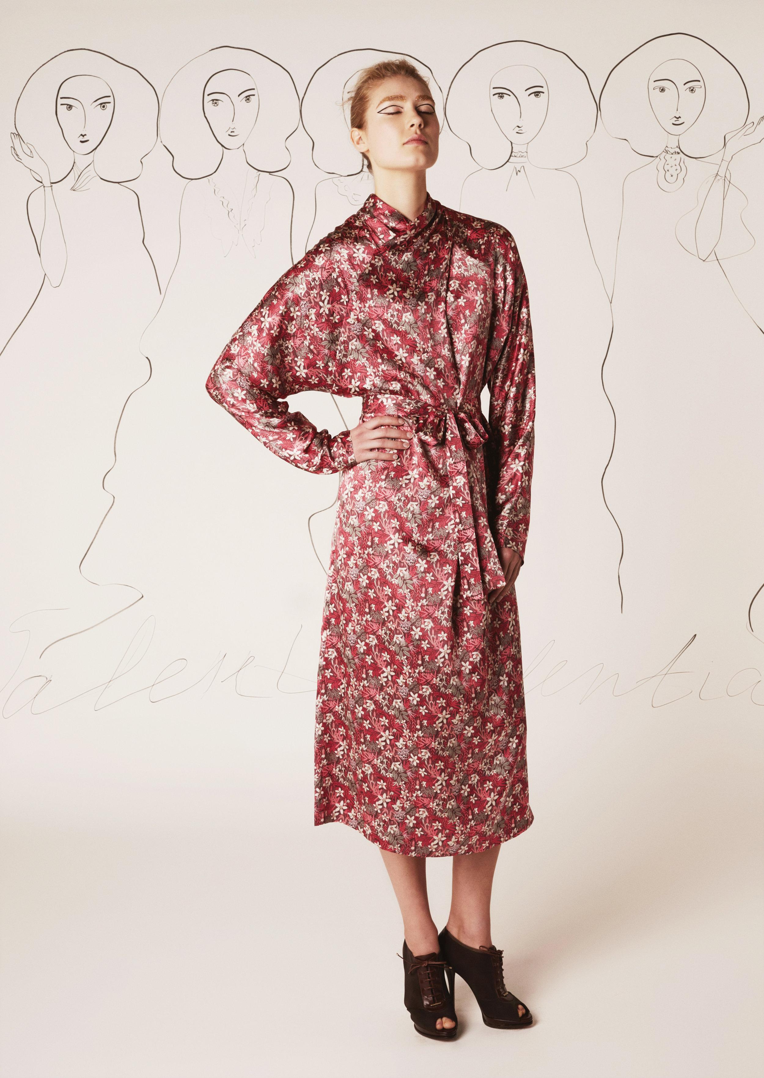 Silk midi dress with draped collar