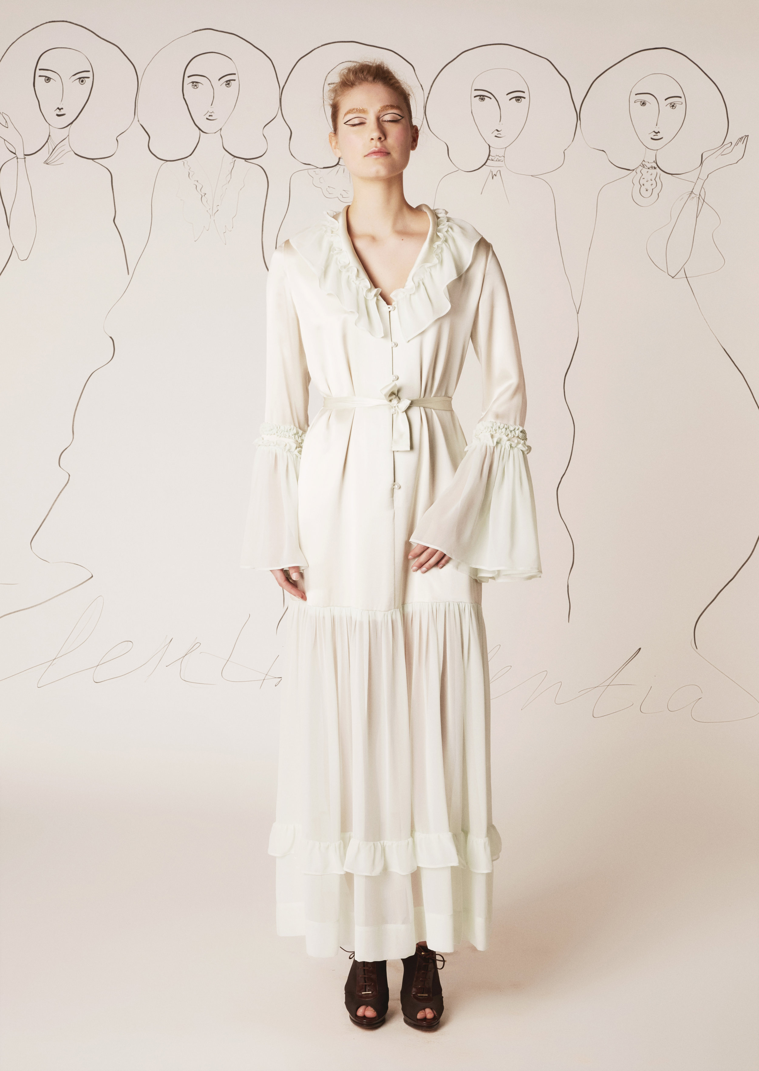 Silk dress with flowing and pleated silk chiffon sleeves and skirt