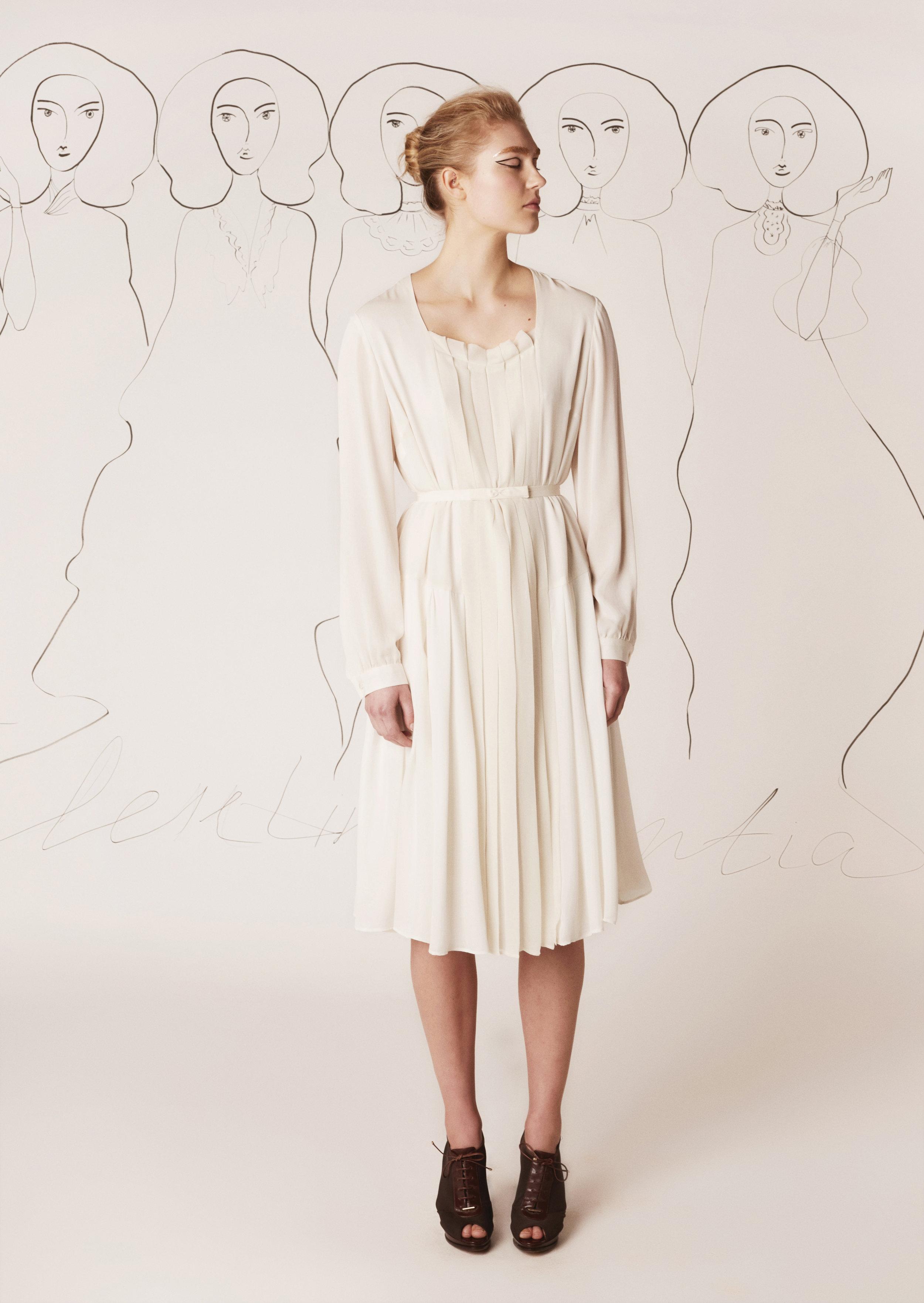 Silk dress with pleated silk chiffon insert