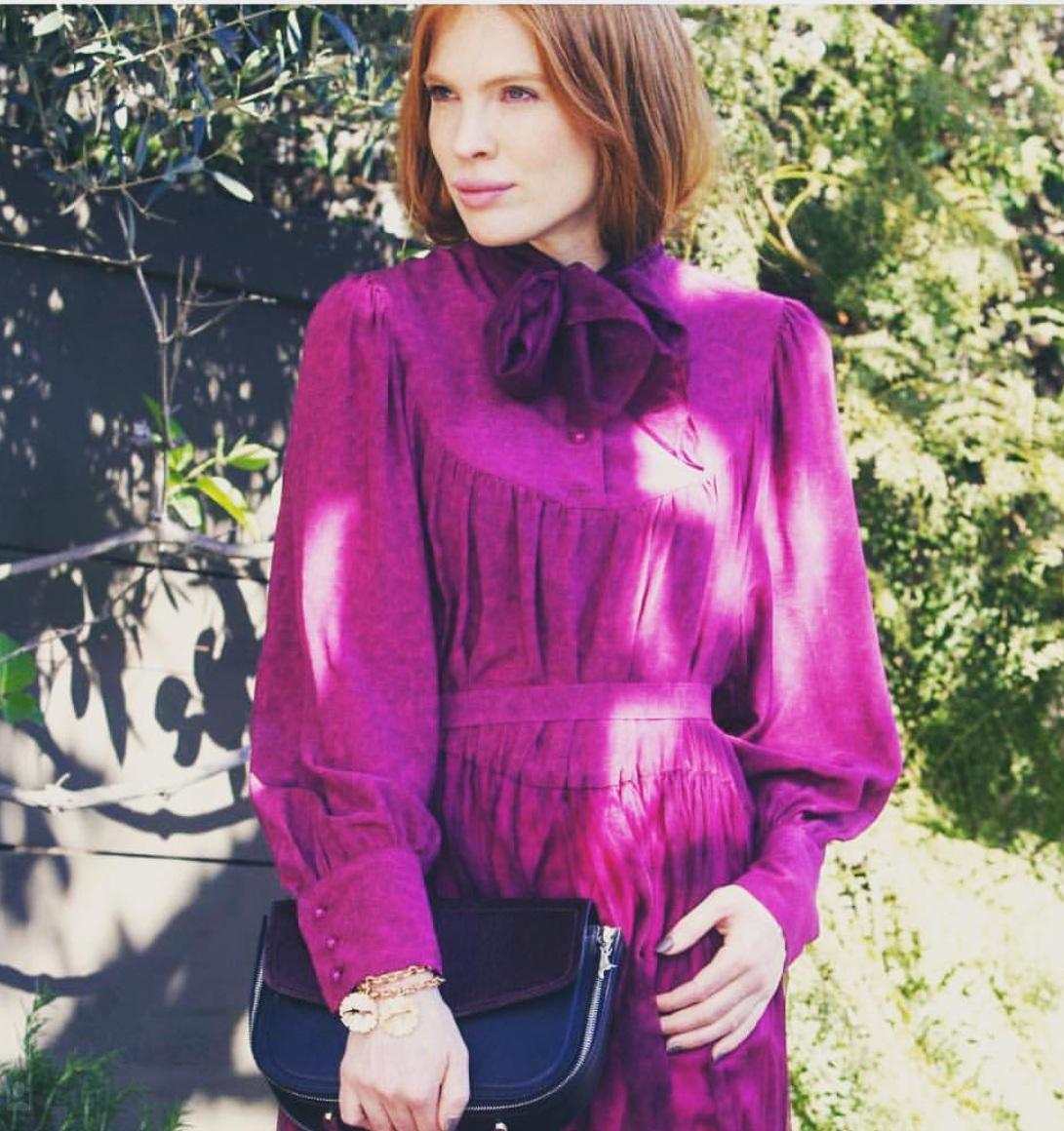 Gigi Thoenes, German super-model, spending time in LA, California looking stunning in Valentina & Valentia silk chiffon dress.