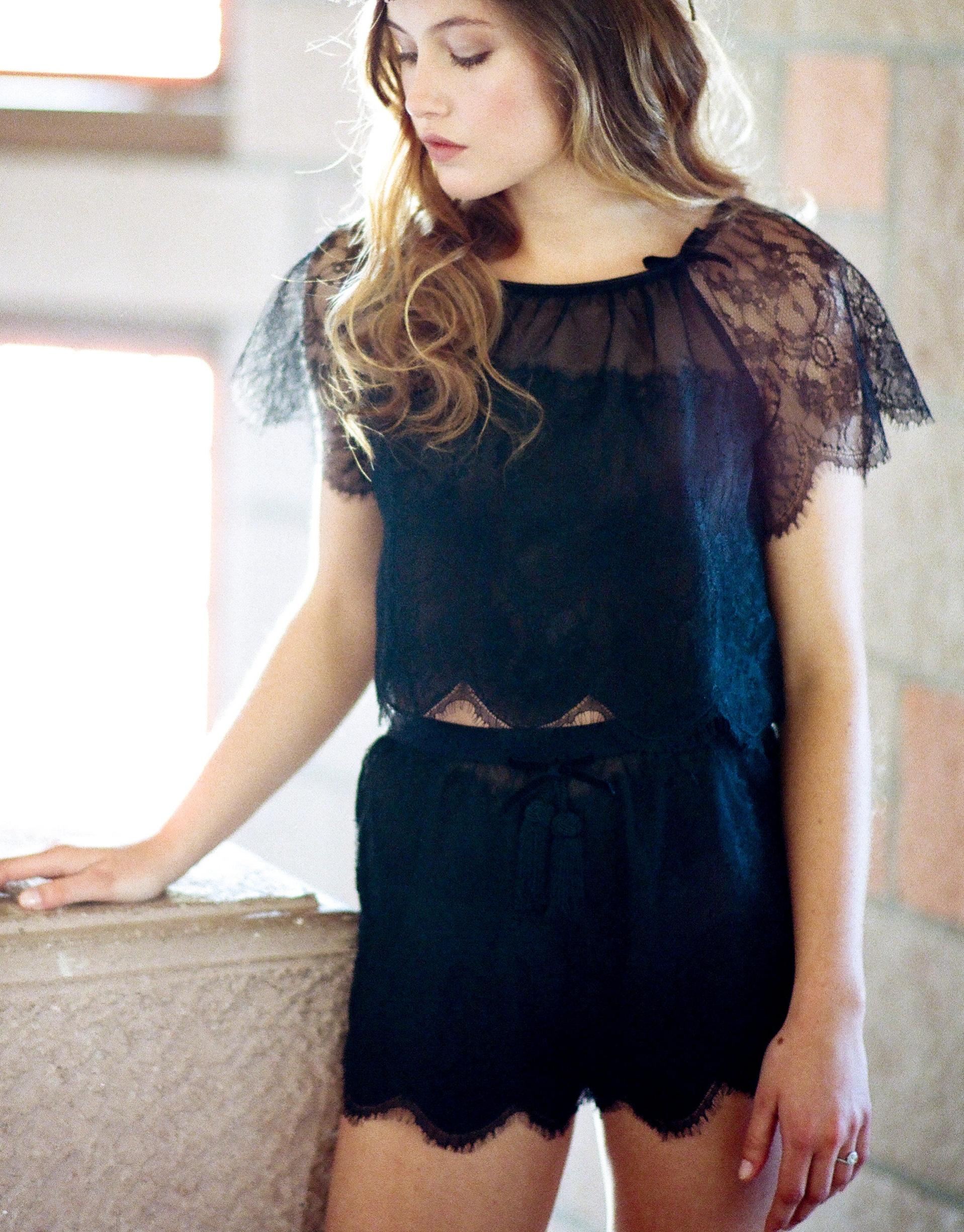 Black lace pajama short set