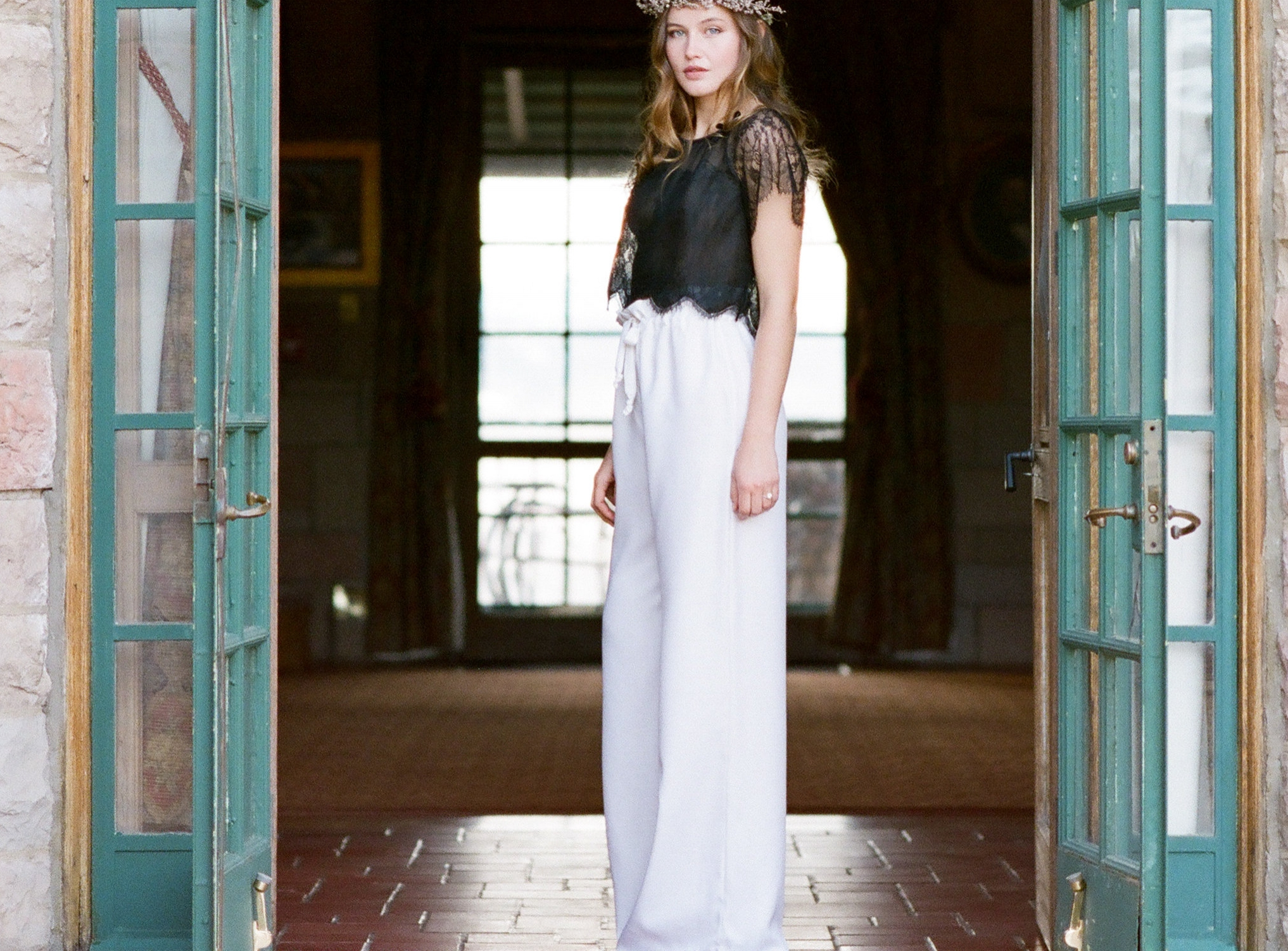 Black lace pajama top and silk twill pant