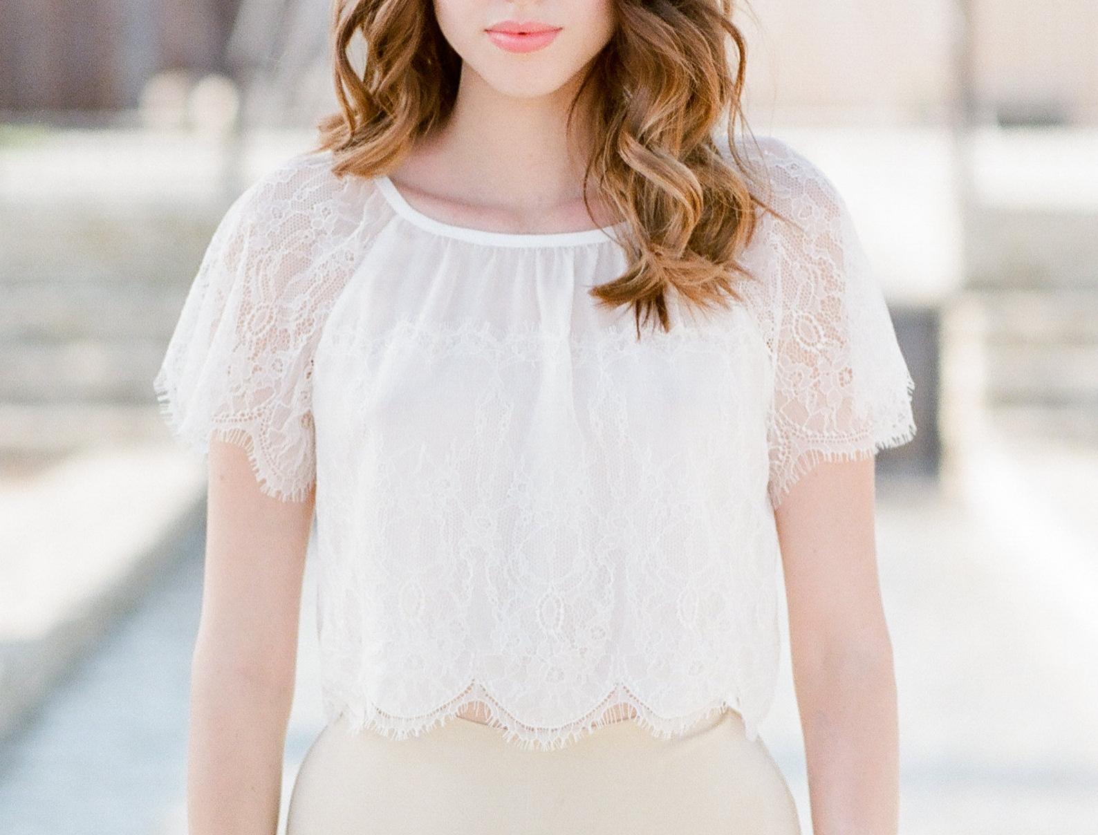 White lace pajama top