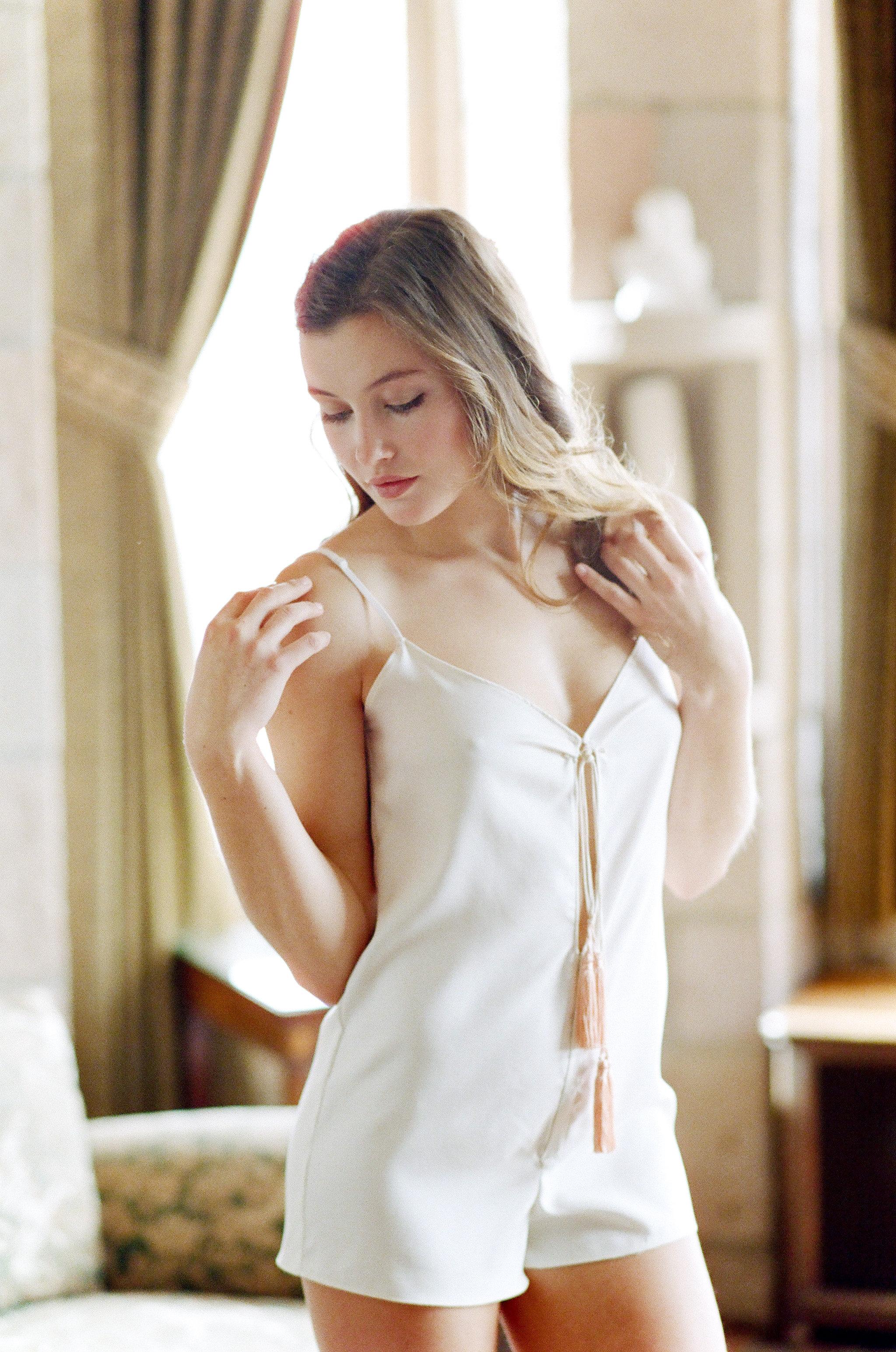 Silk twill romper with tassels