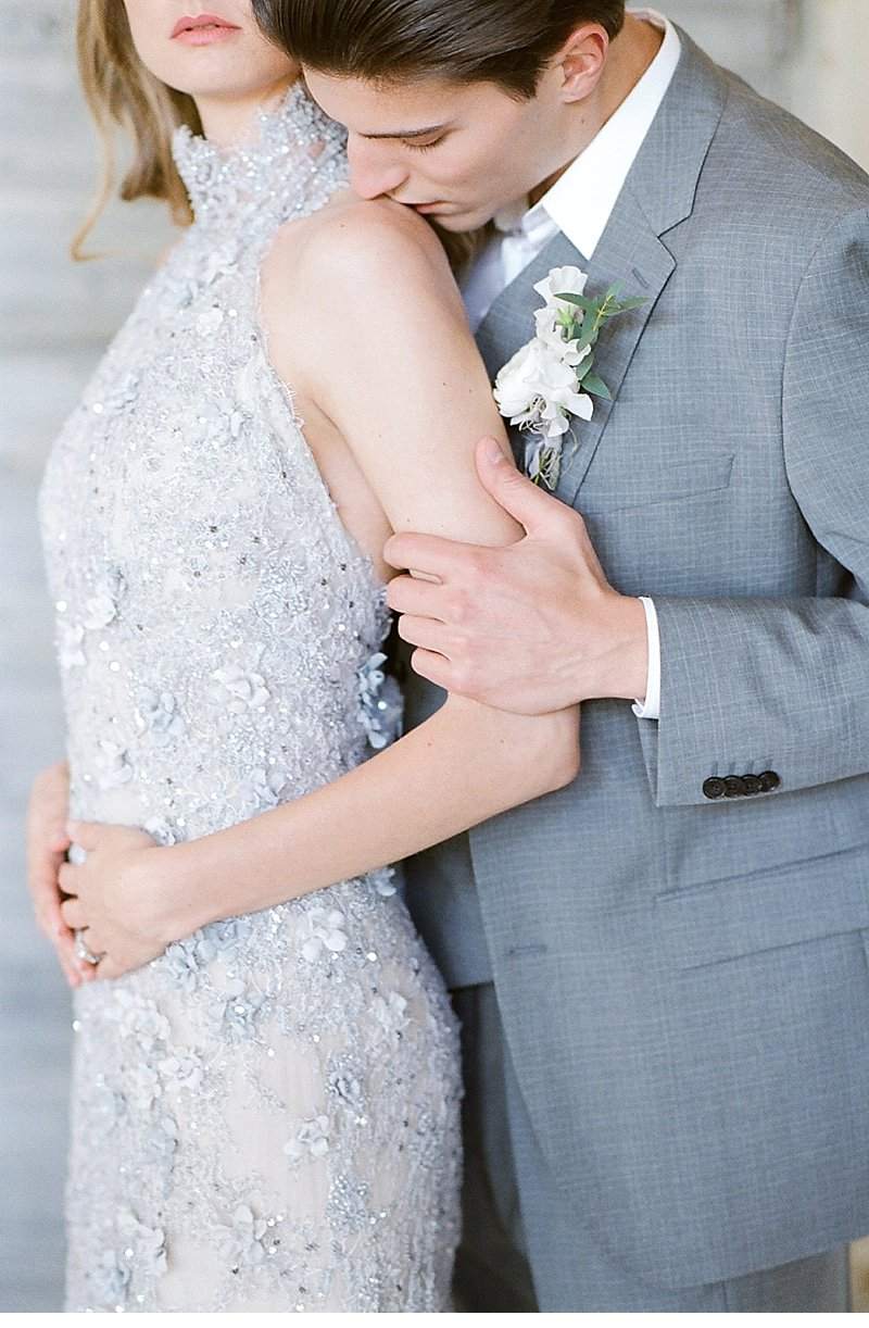 Gray beaded wedding gown by Veronica Sheaffer