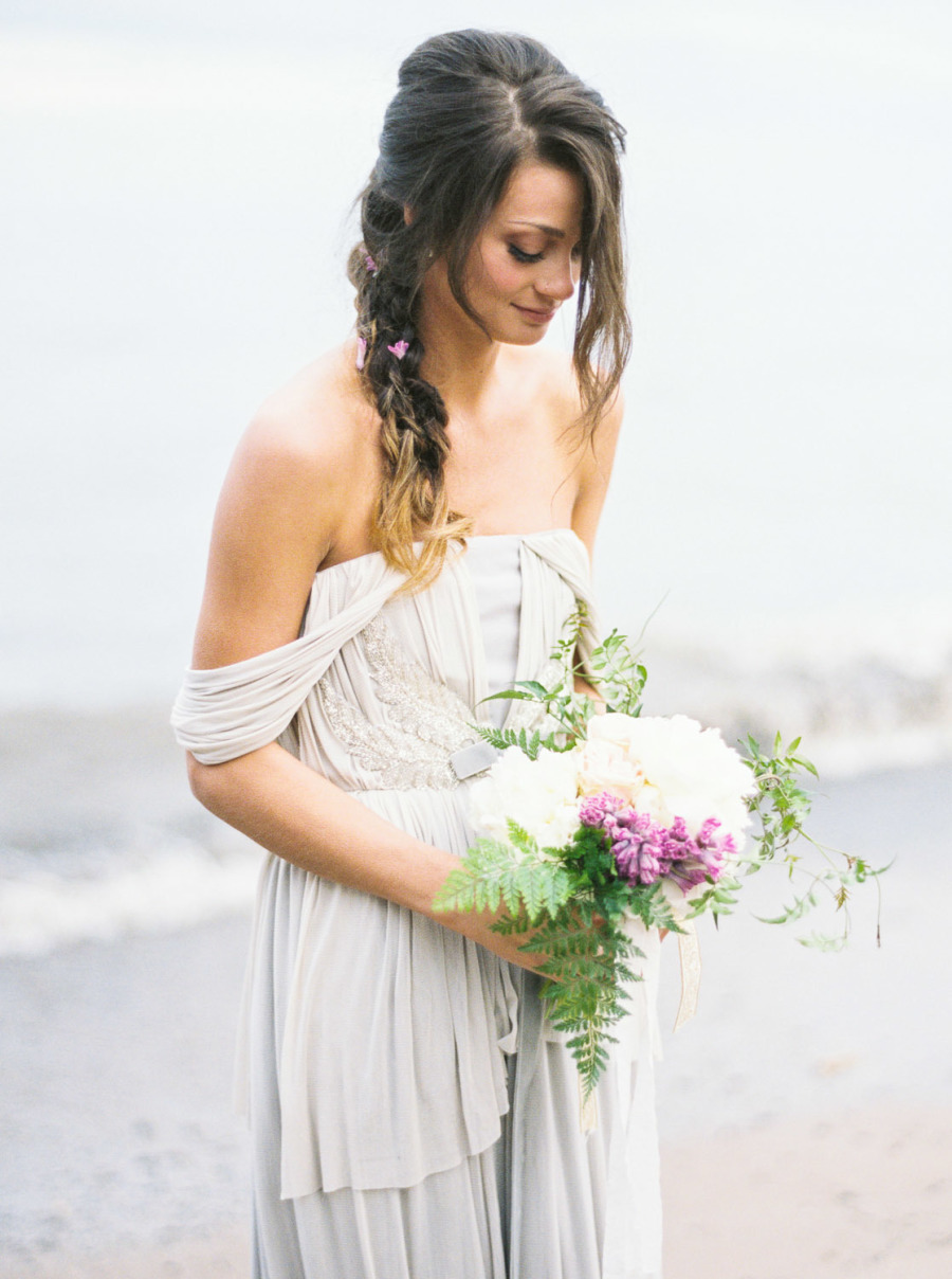 Flowing gray bridal gown by Veronica Sheaffer