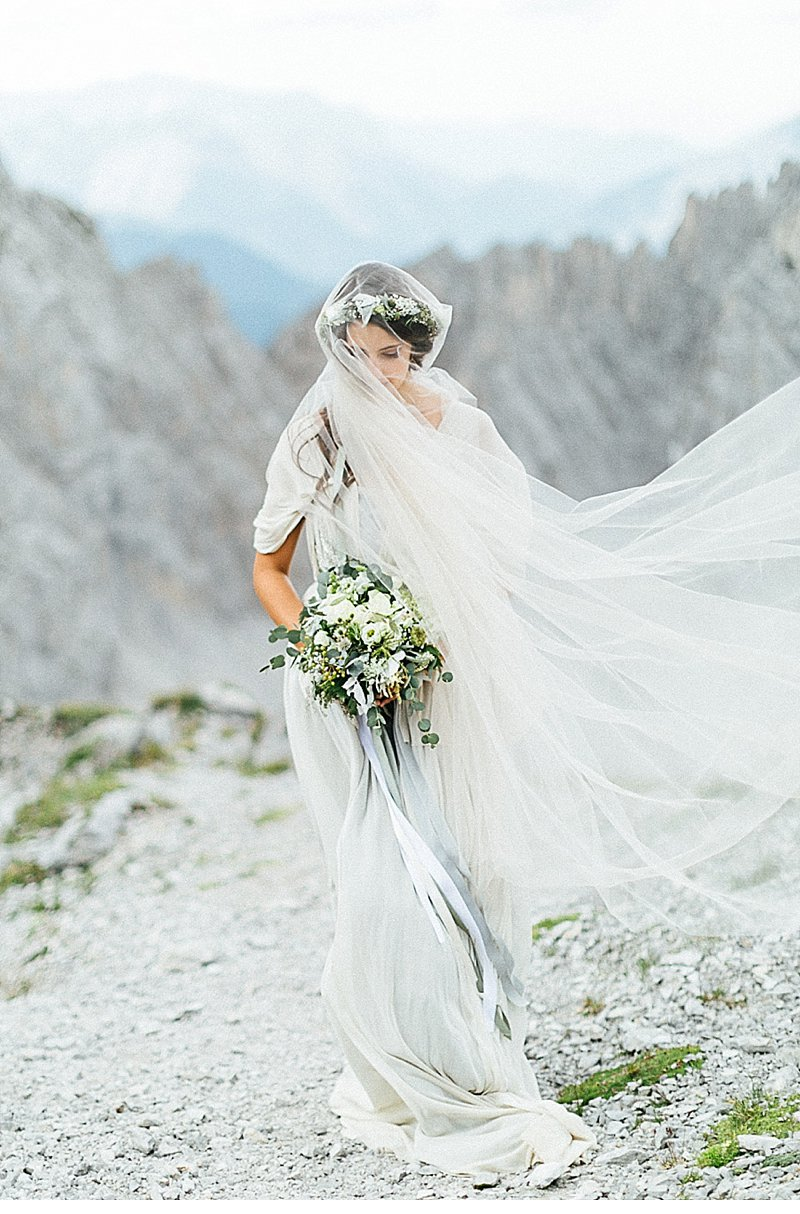 Gray silk bridal gown by Veronica Sheaffer