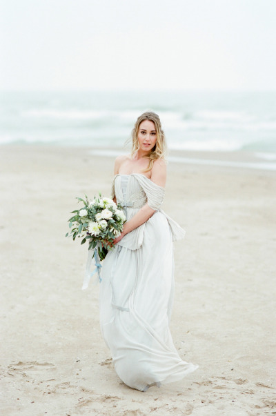 Flowing gray silk gown by Veronica Sheaffer
