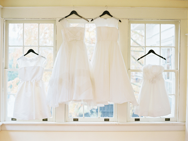 Wedding dresses in window