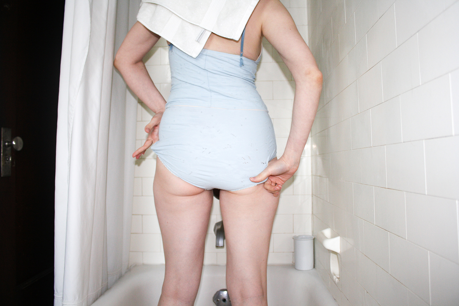 Pale blue camisole and granny panty