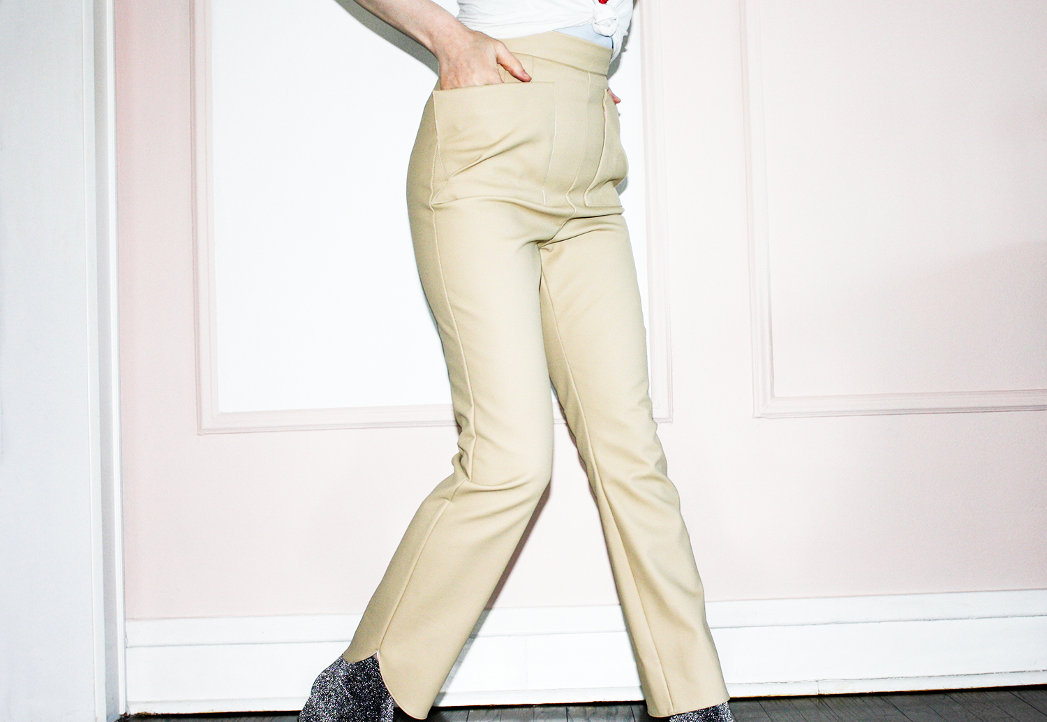 Camel faux leather pants