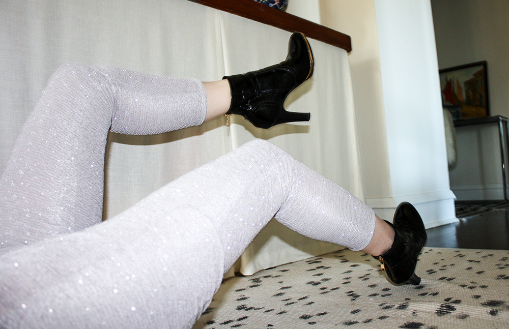 Silver sparkle leggings
