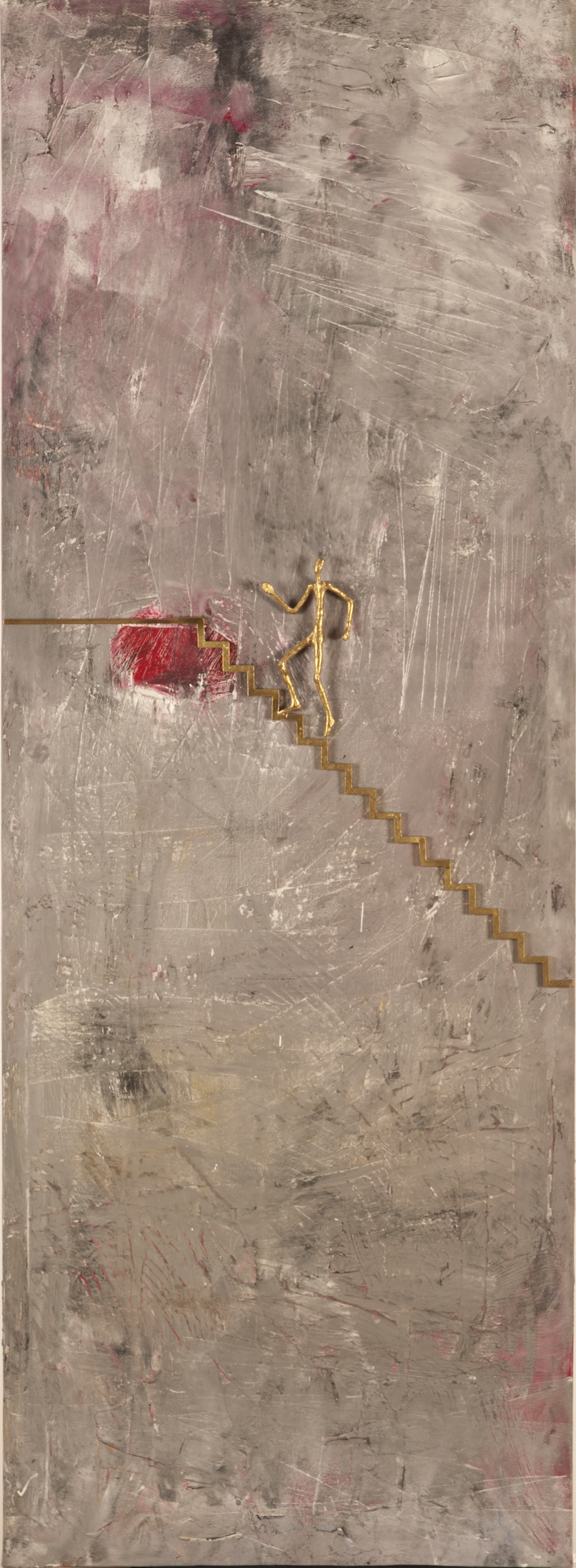 Climbing to success  mix media on canvas size: 70 x 160 Unique