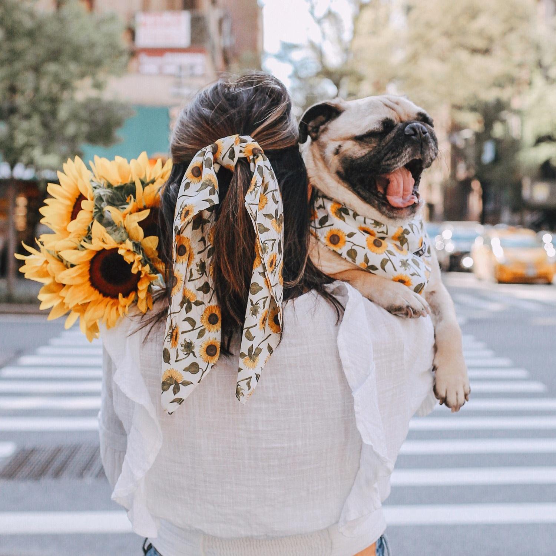 Sunflowerprint-hairscarf-dogbandana-dogmom-twinning-newyork-madeinnewyork-pug-dogaccessories.jpg