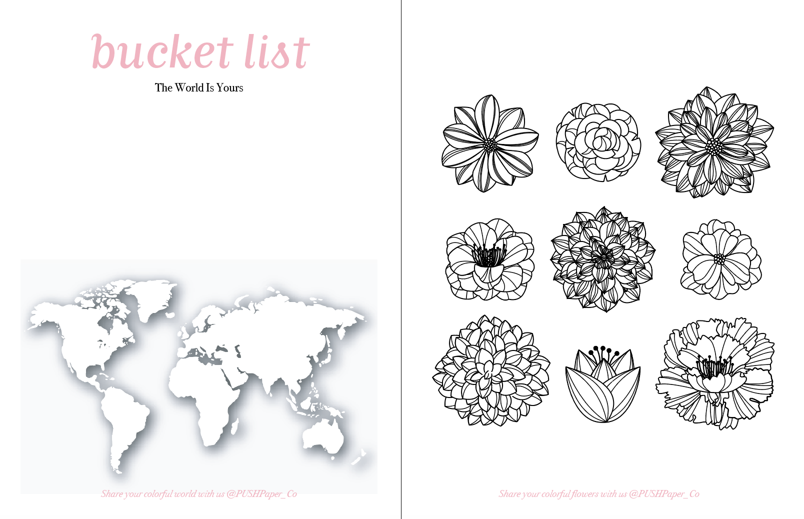 De-stress using our fun pages to write out your bucket list and color the map. Design a beautiful bouquet and share them with us @PUSHPaper_Co!