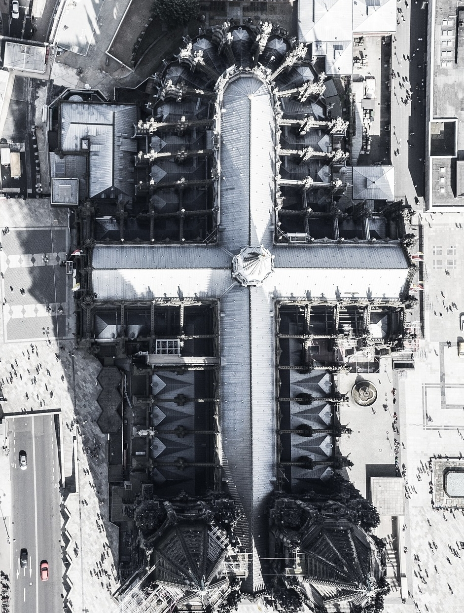 Aerial view of Cathedral of Cologne