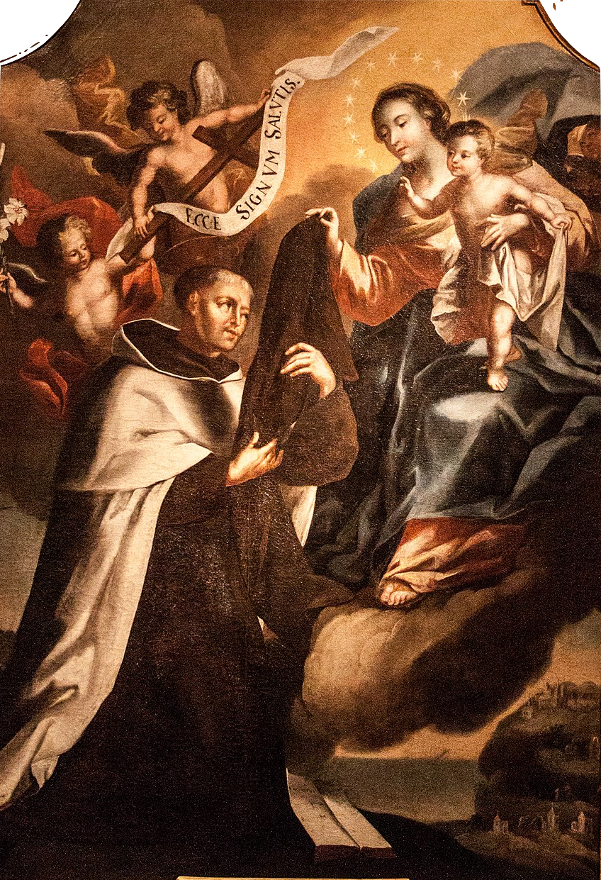 St. Simon of Stock receives the Scapular from Our Lady of Mt. Carmel