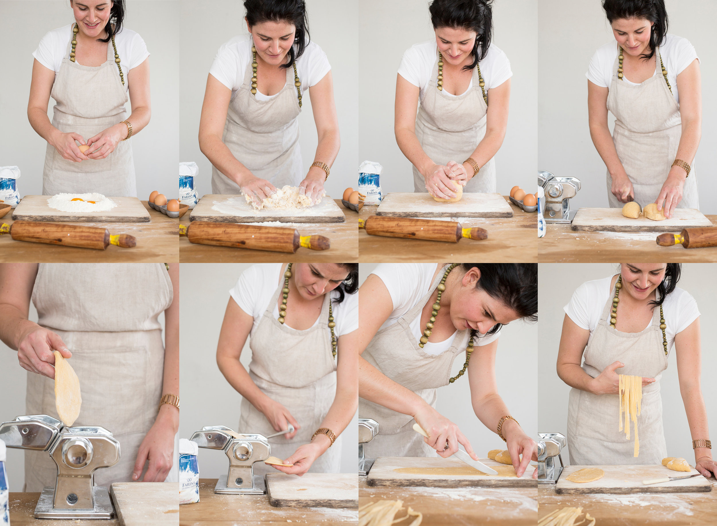 Steps to making pasta from raw ingredients, to dough, to the final roll into fettuccini.