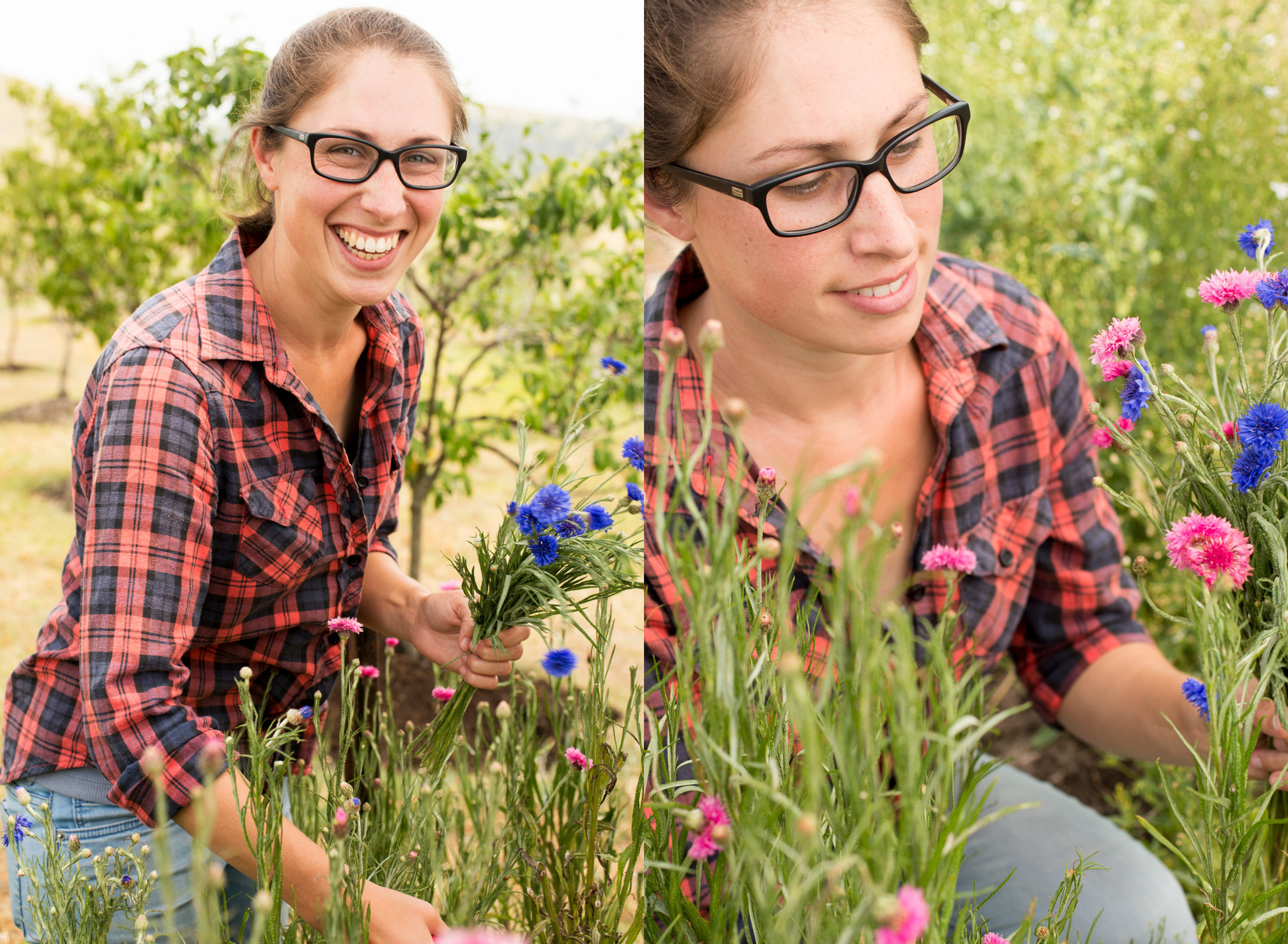 Vanessa picks fresh blooms for their weekly CSA posies