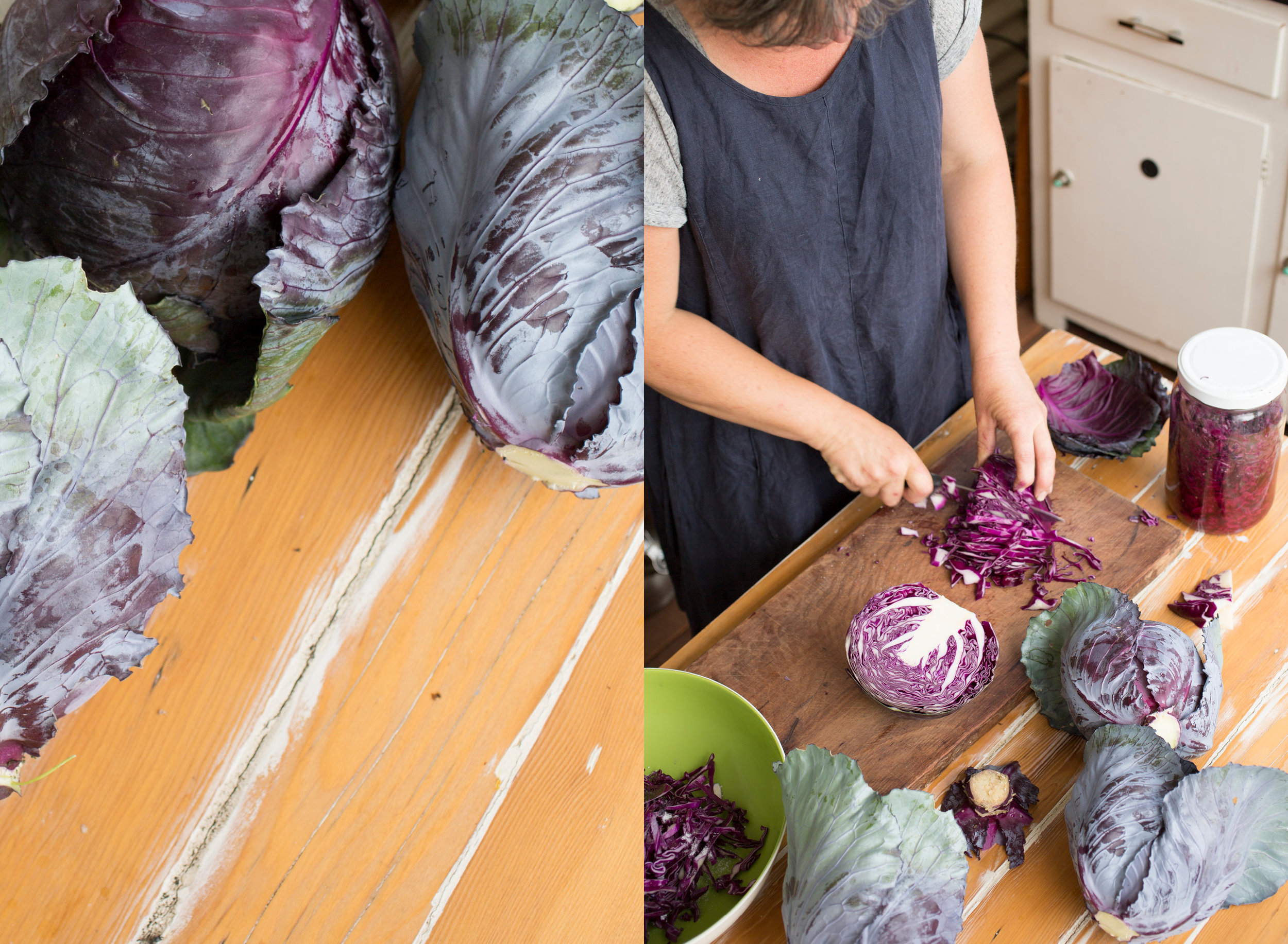 Freshly harvested cabbages from her garden being prepped for a batch of sauerkraut.