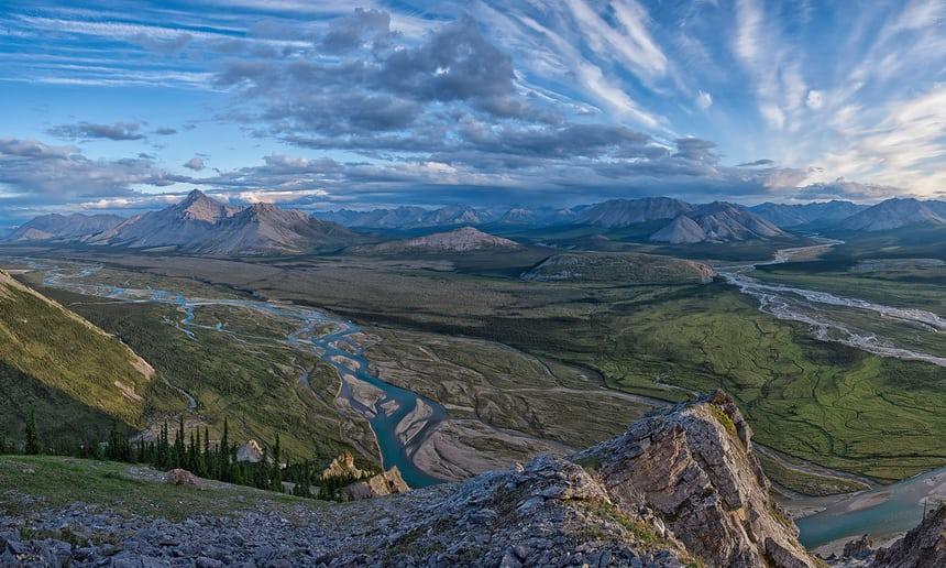 'We are mongrel creatures on a mongrel planet, and we have to be flexible to survive' … Wind river, Yukon, Canada. Photograph: Peter Mather