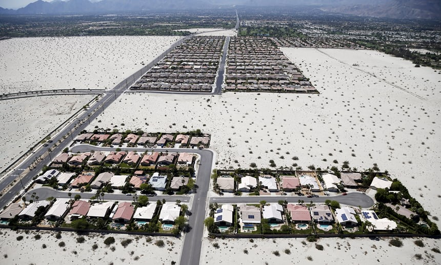 Homes in Palm Springs, where the average daily water usage per person is 201 gallons – more than double the California average. Photograph: Lucy Nicholson/Reuters