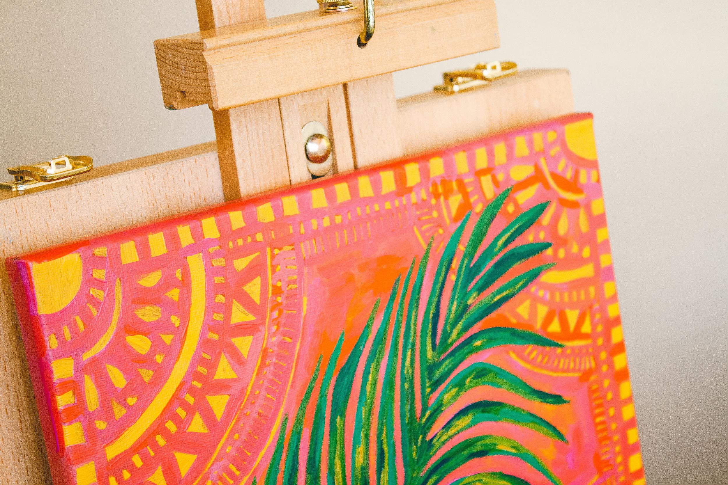 """Sacred Palm"" Original on 12x12"" Canvas Acrylic"