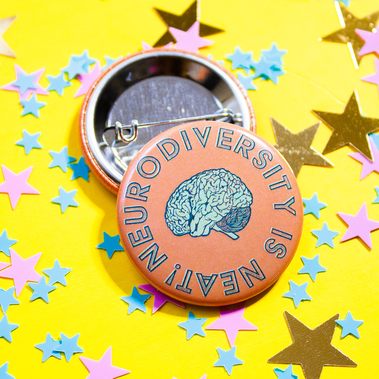 Neurodiversity is Neat! Button Pin   - $1 from every purchase of my neurodiversity art collection goes directly to the  Mental Health Association of Central Florida .