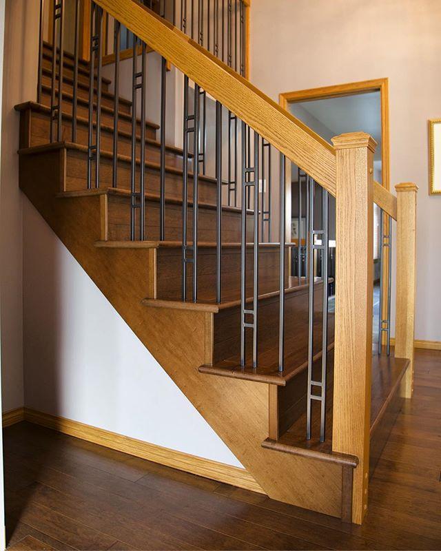 Custom set of Maple hardwood stairs done by Prairie Concepts. #prairieconcepts #nwfa #winnipegrenovations #winnipeghardwood