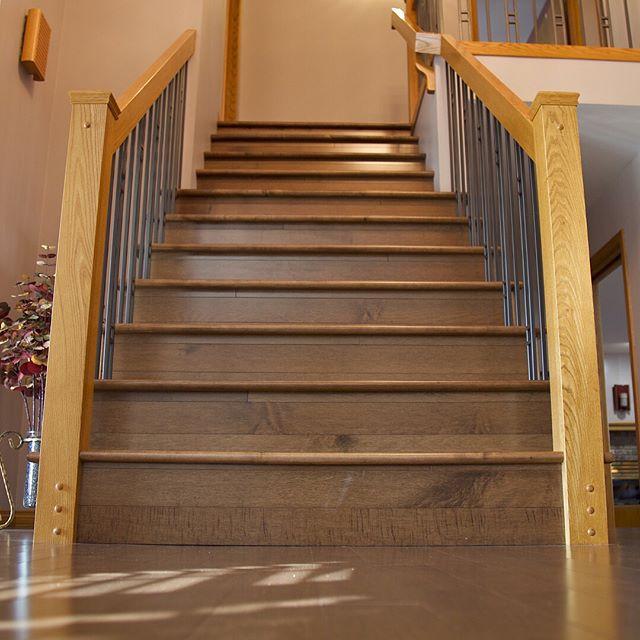 Custom set of Maple hardwood stairs by Prairie Concepts. #prairieconcepts #exchangedistrictwinnipeg #winnipegflooring #stairmasters
