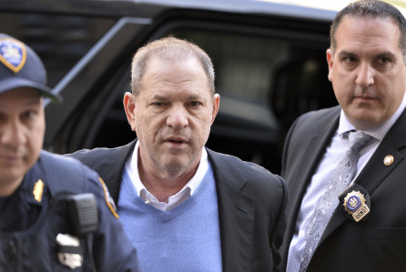 Disgraced Hollywood mogul Harvey Weinstein being arraigned on felony sex charges. Photo: Associated Press