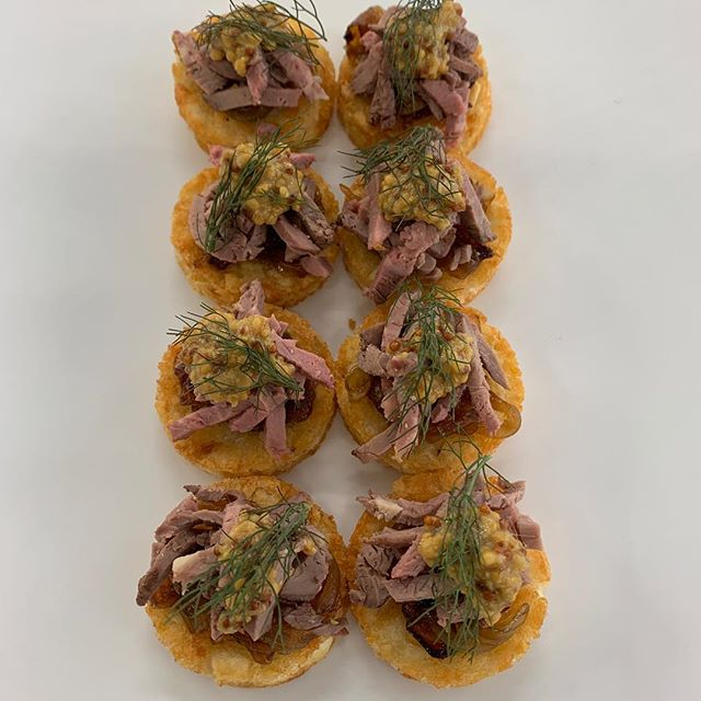 Rare roast beef served on potato rosti with caramelised onion and seeded mustard #catering #canapes #function #tasteofthewhitsundays #cheflife #party #wedding #delicious