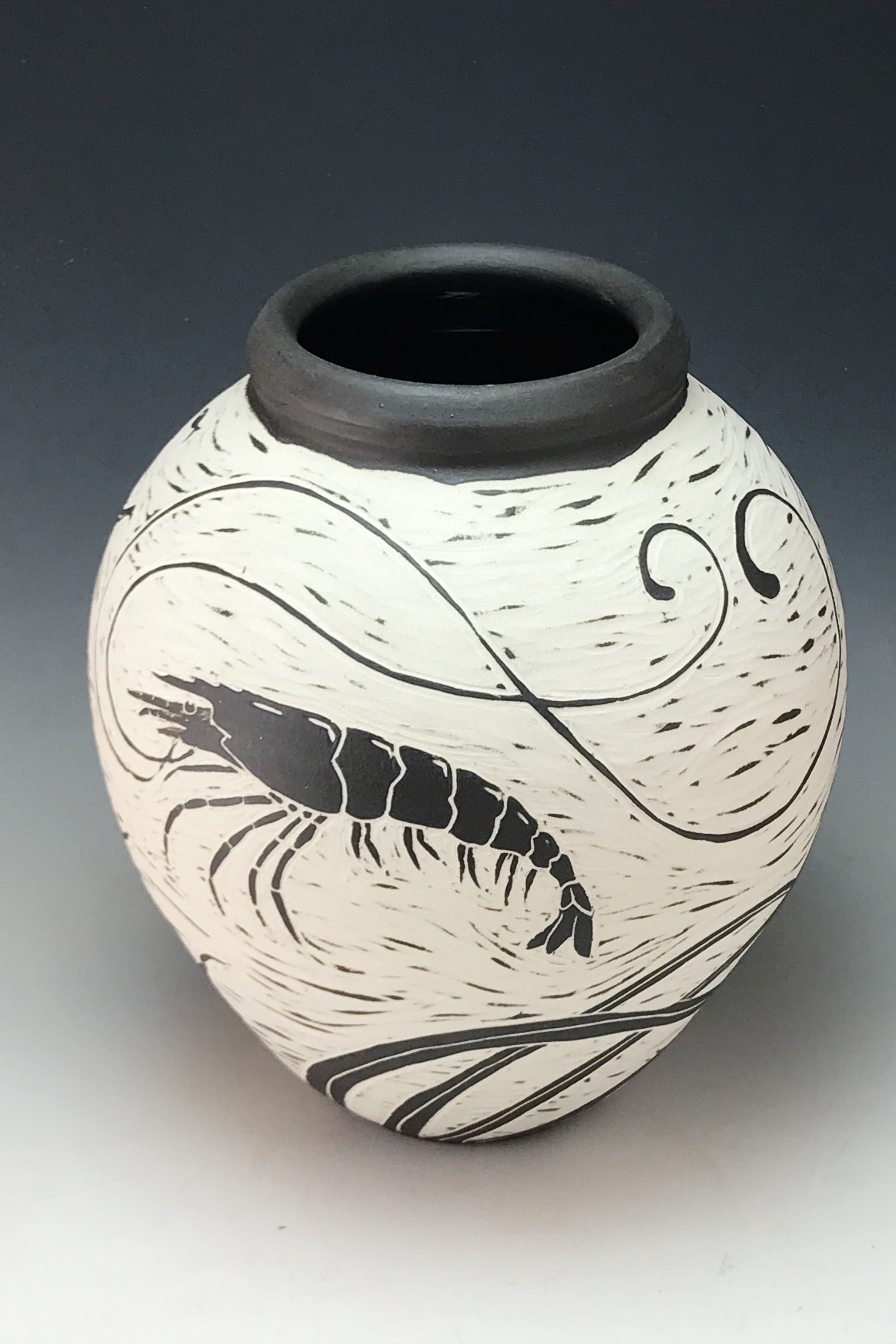 Shrimp and Flounder vase