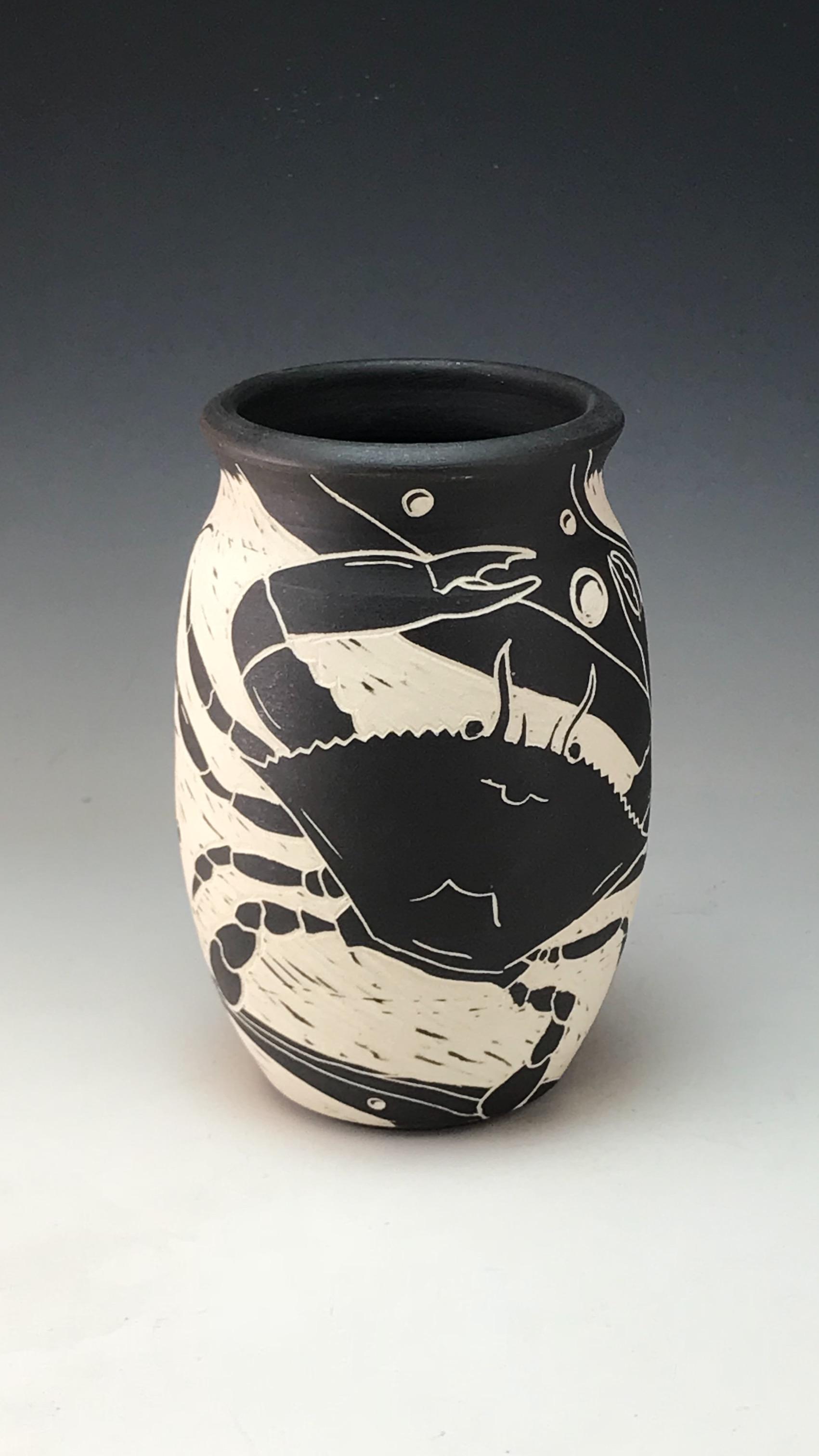 Sgraffito Crab Vase