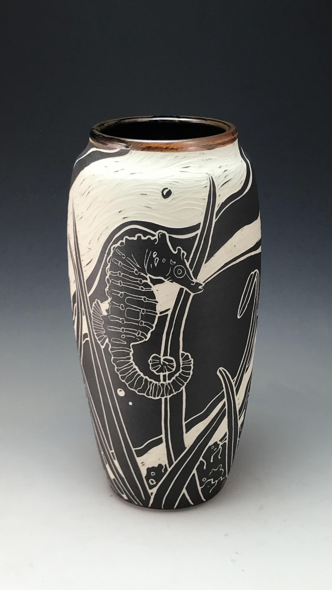 Seahorse sgraffito Vase