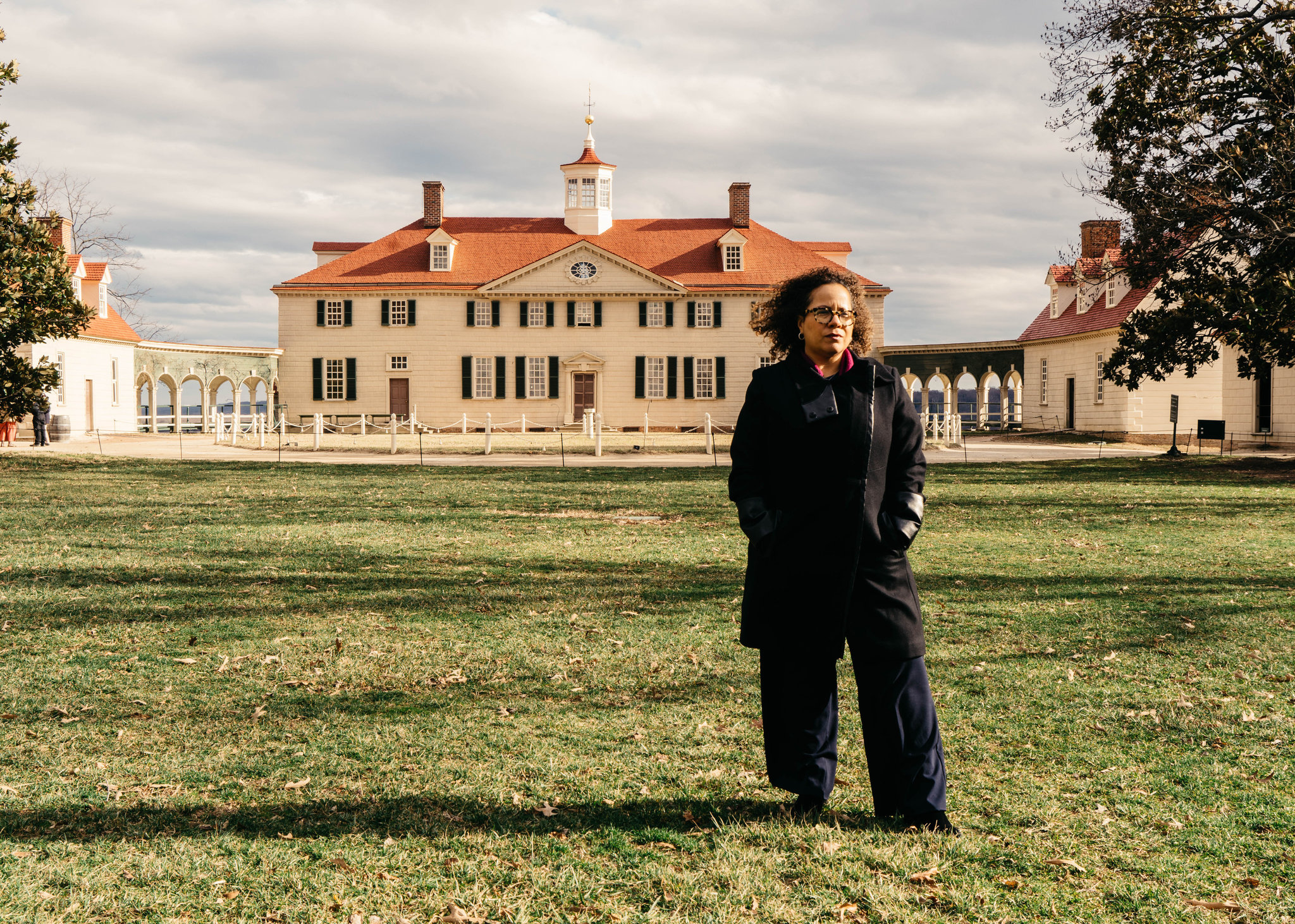 """Erica Armstrong Dunbar, the author of """"Never Caught: The Washingtons' Relentless Pursuit of Their Runaway Slave, Ona Judge,"""" at George Washington's estate in Mount Vernon, Va. Justin T. Gellerson for The New York Times"""