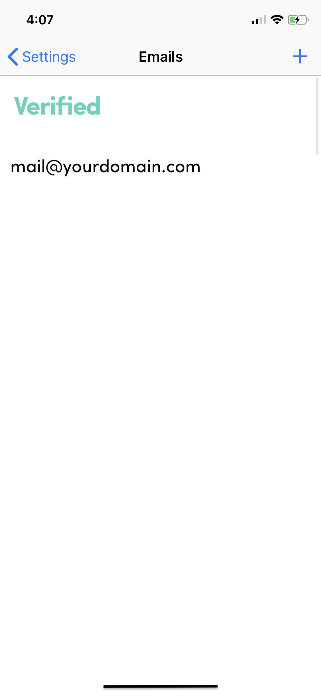 Verified Email in Trusona app