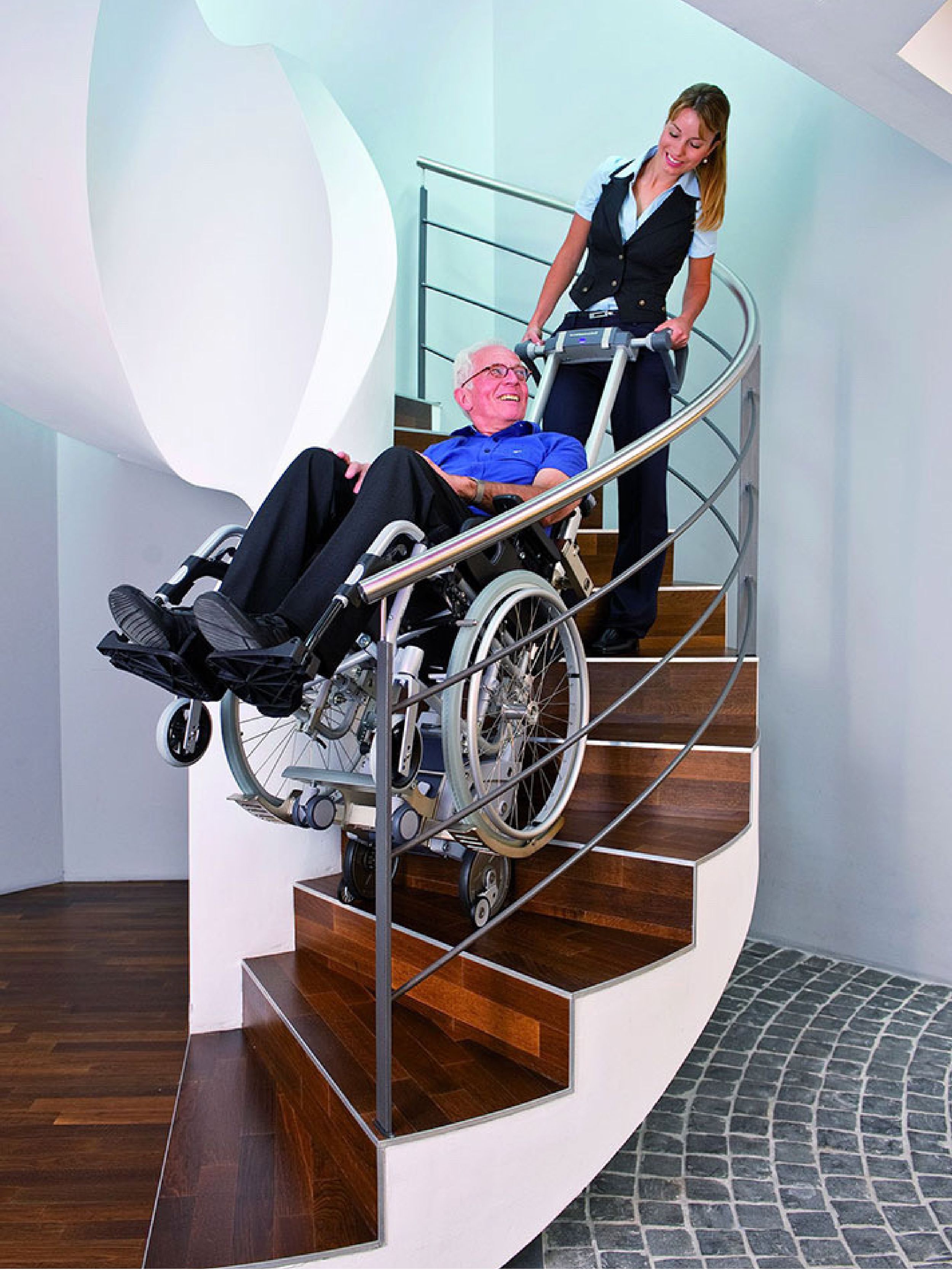 Scalamobil - For a spiral or radius staircase the Scalamobil is a great solution. Available in most of our showrooms.