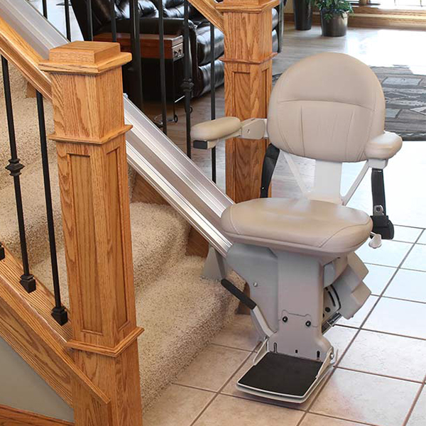 Straight Stair Lifts - - Elan model features 300 lbs lift capacity- Elite model features 400 lbs lift capacity- Lifetime Warranty- Unique rail maximizes open space on steps- Power options and customization available