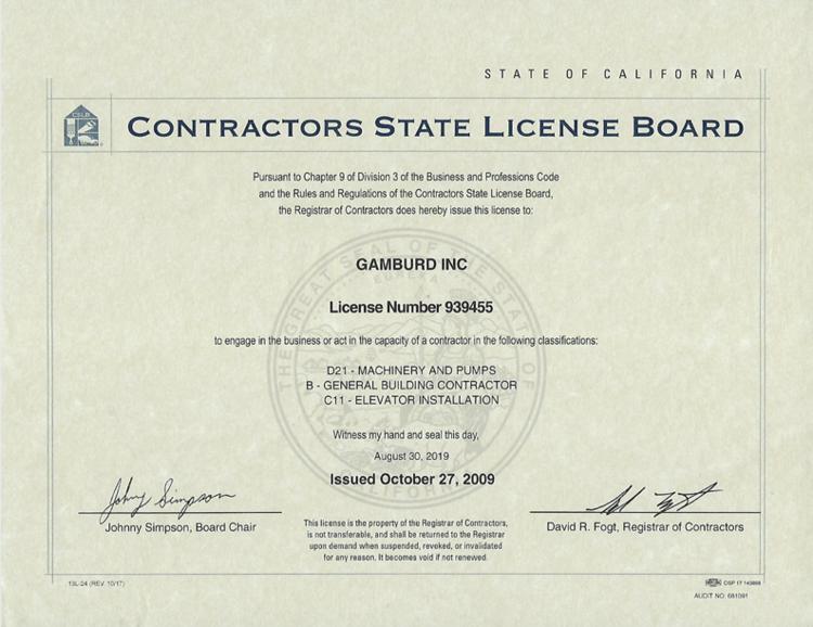 Gamburd Inc License 939455