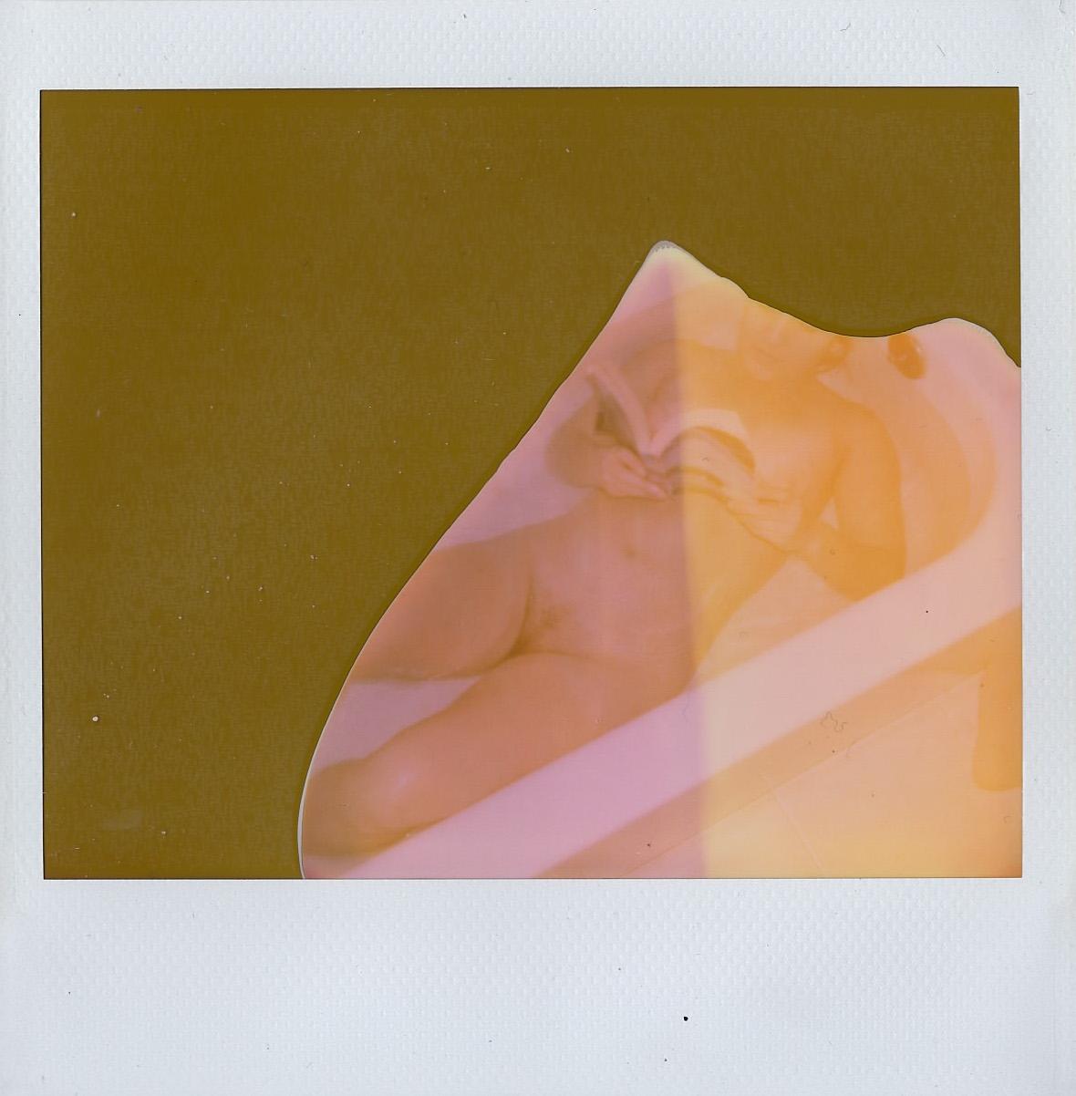 Rosie Lopeman in the bath - Brooklyn, NY - December 2016 - Expired Polaroid Spectra