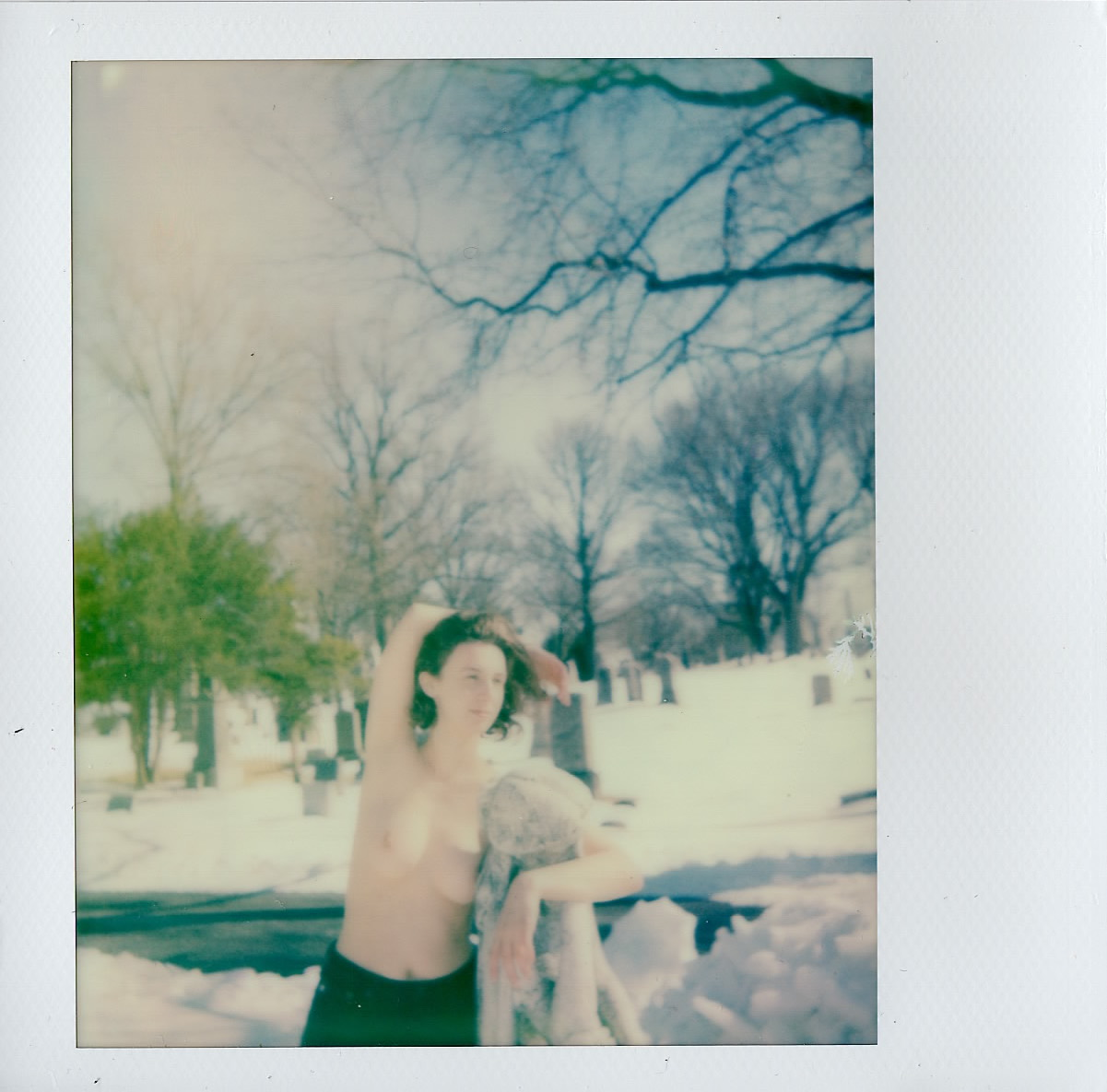 My sister in the Cemetery of the Evergeens -- March 2017 -- Polaroid Spectra